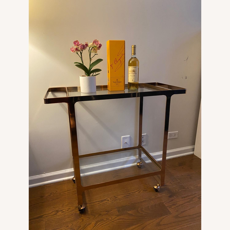 CB2 Rose Gold Metal Bar Cart - image-1