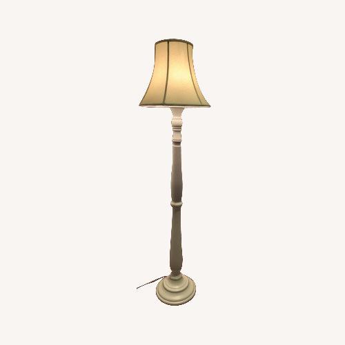 Used Pottery Barn White Wooden Floor Lamp for sale on AptDeco