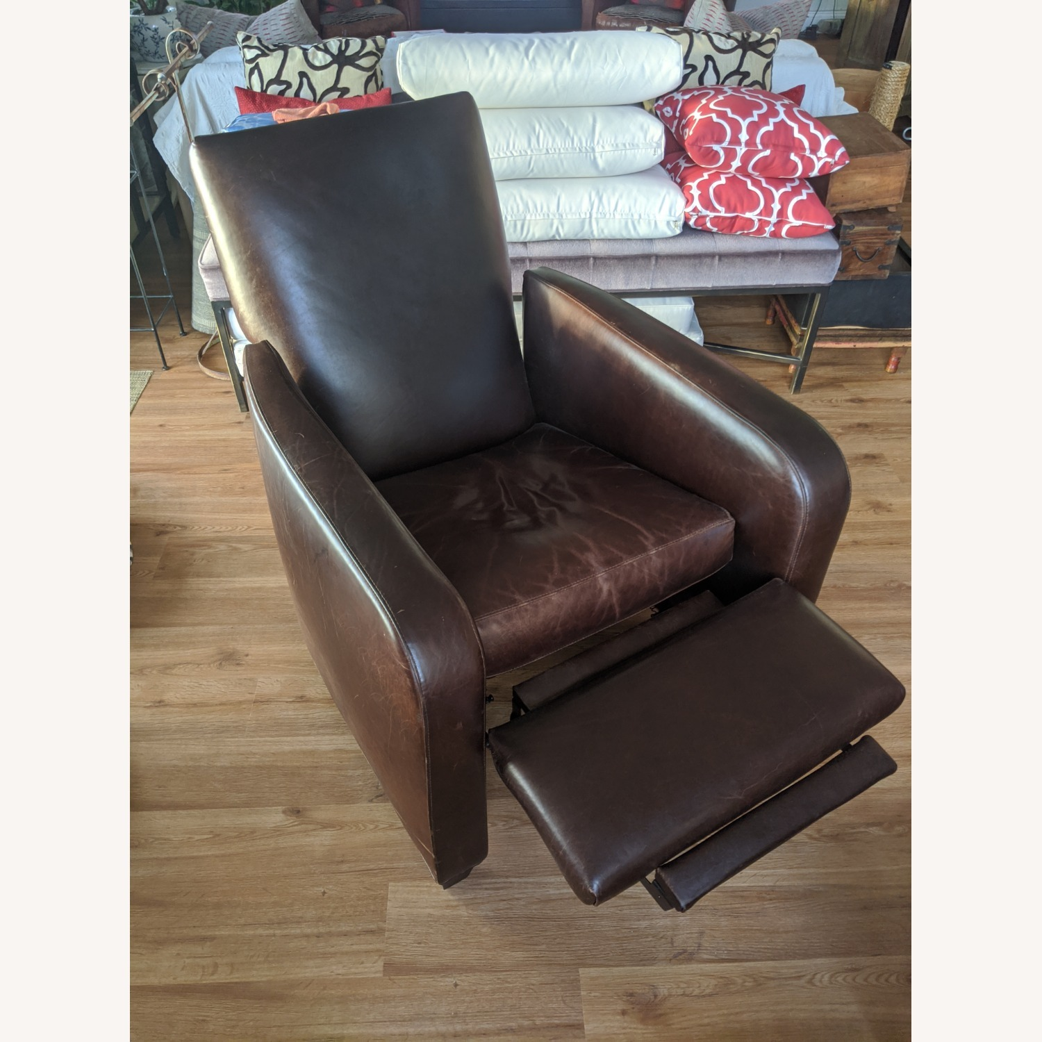 Crate & Barrel Leather Recliner - image-3