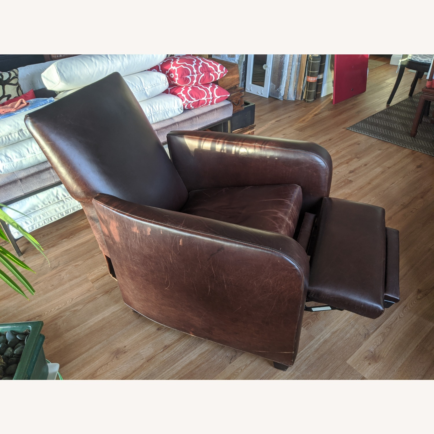 Crate & Barrel Leather Recliner - image-2