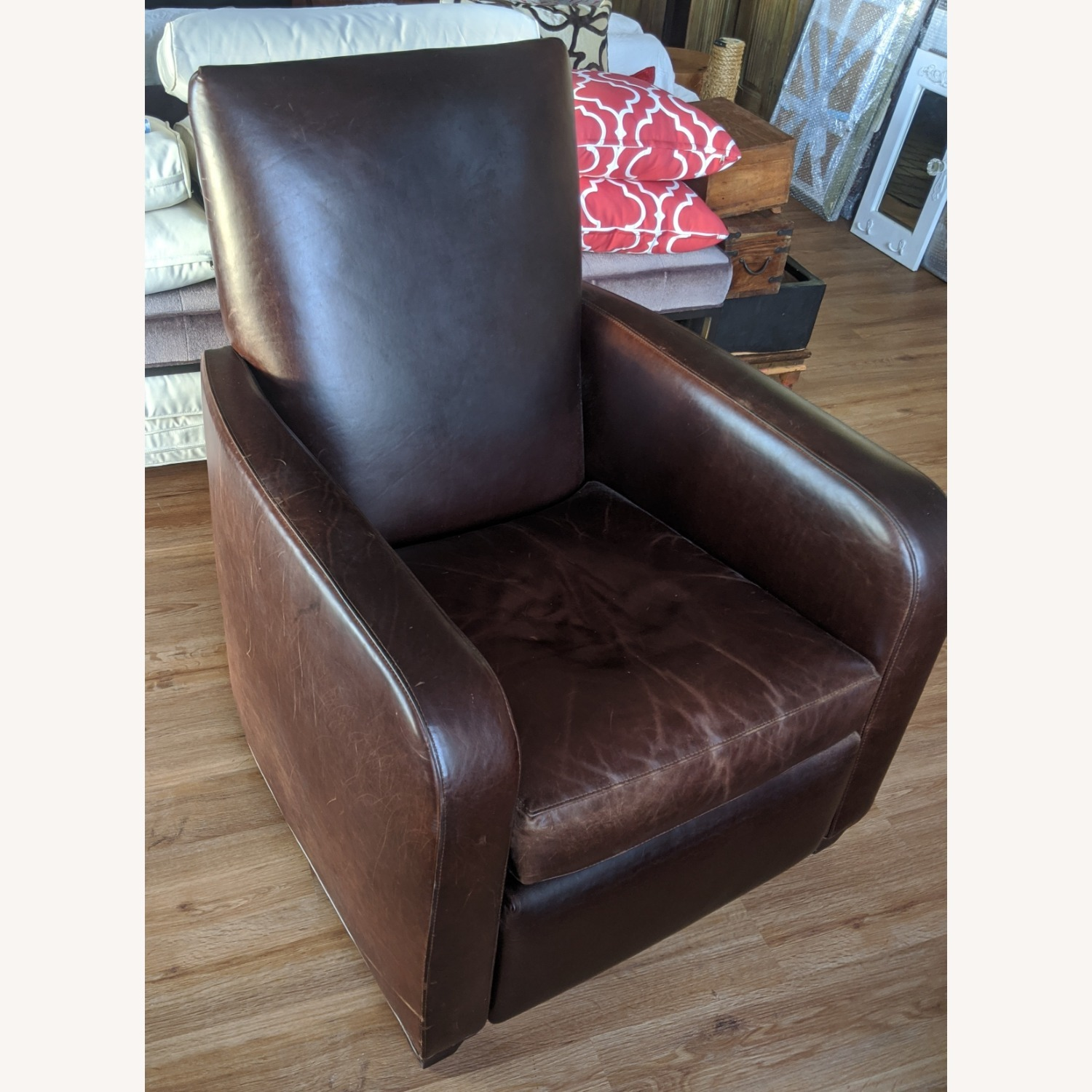 Crate & Barrel Leather Recliner - image-1