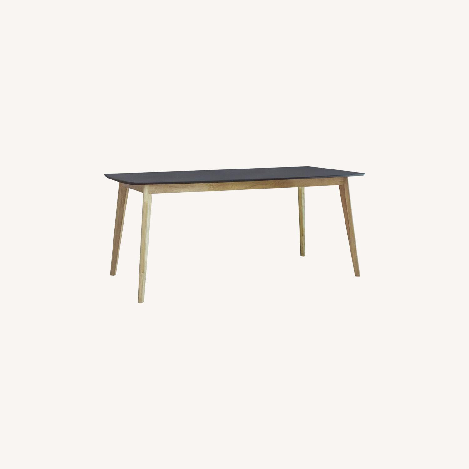 Dining Table In Matte Black And Natural Finish - image-3