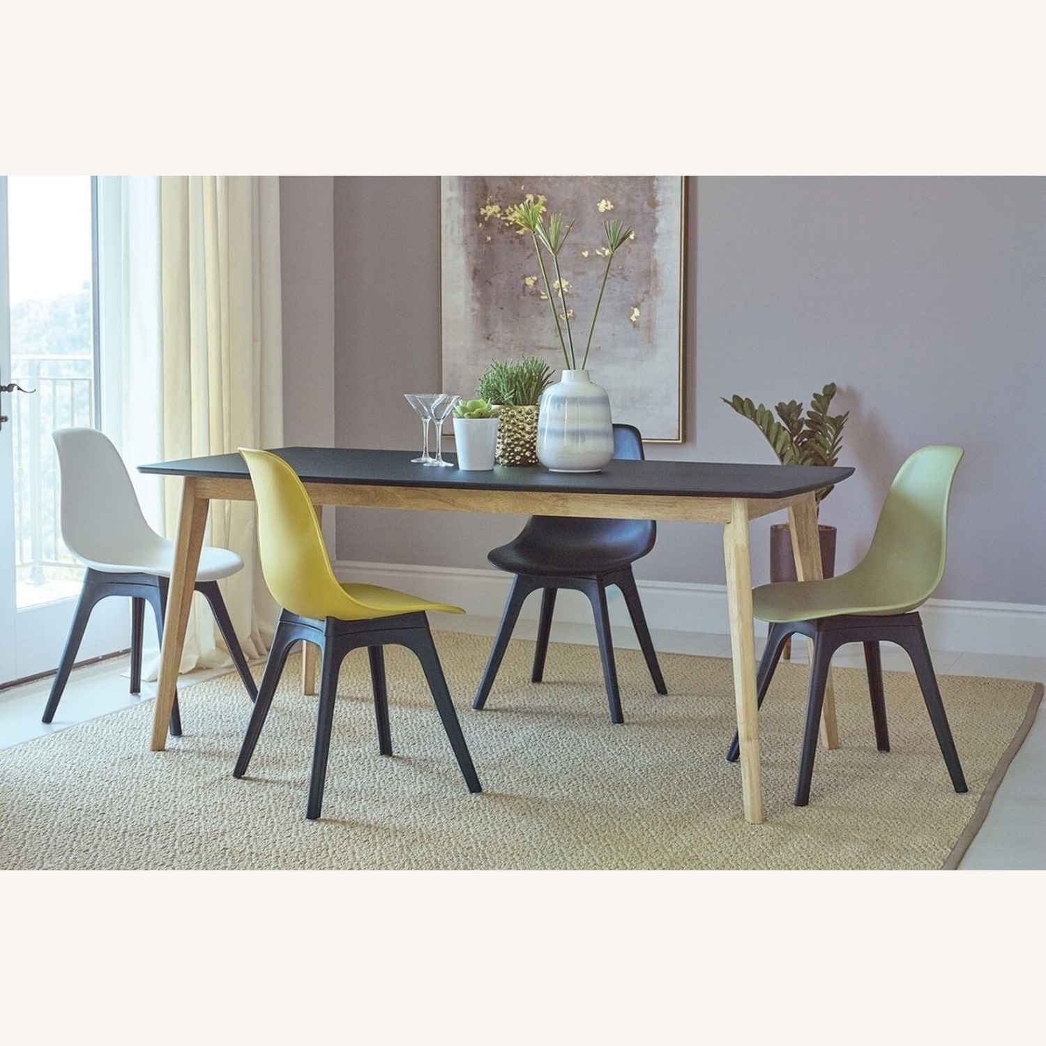 Dining Table In Matte Black And Natural Finish - image-2