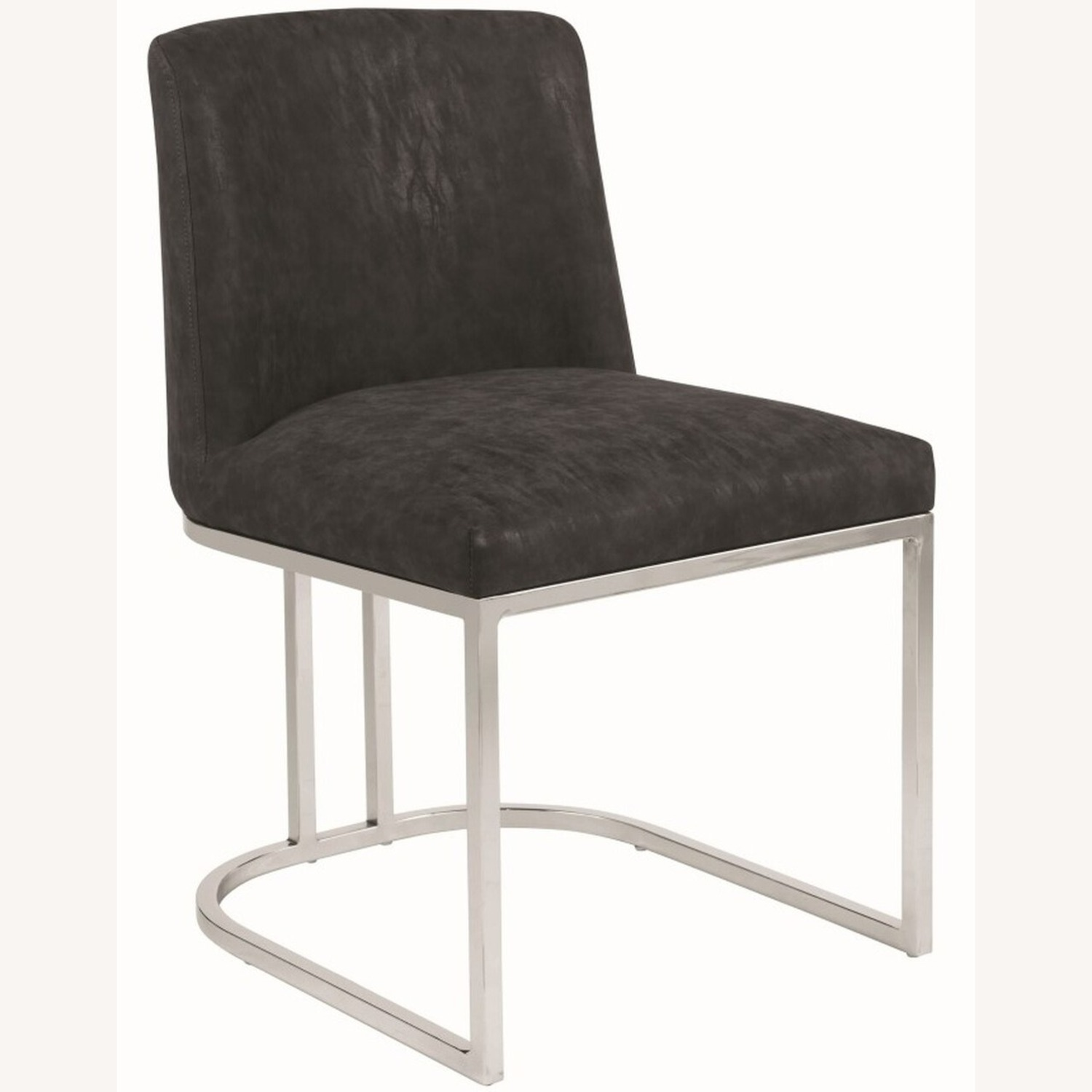 Modern Dining Chair In Black Leatherette - image-0