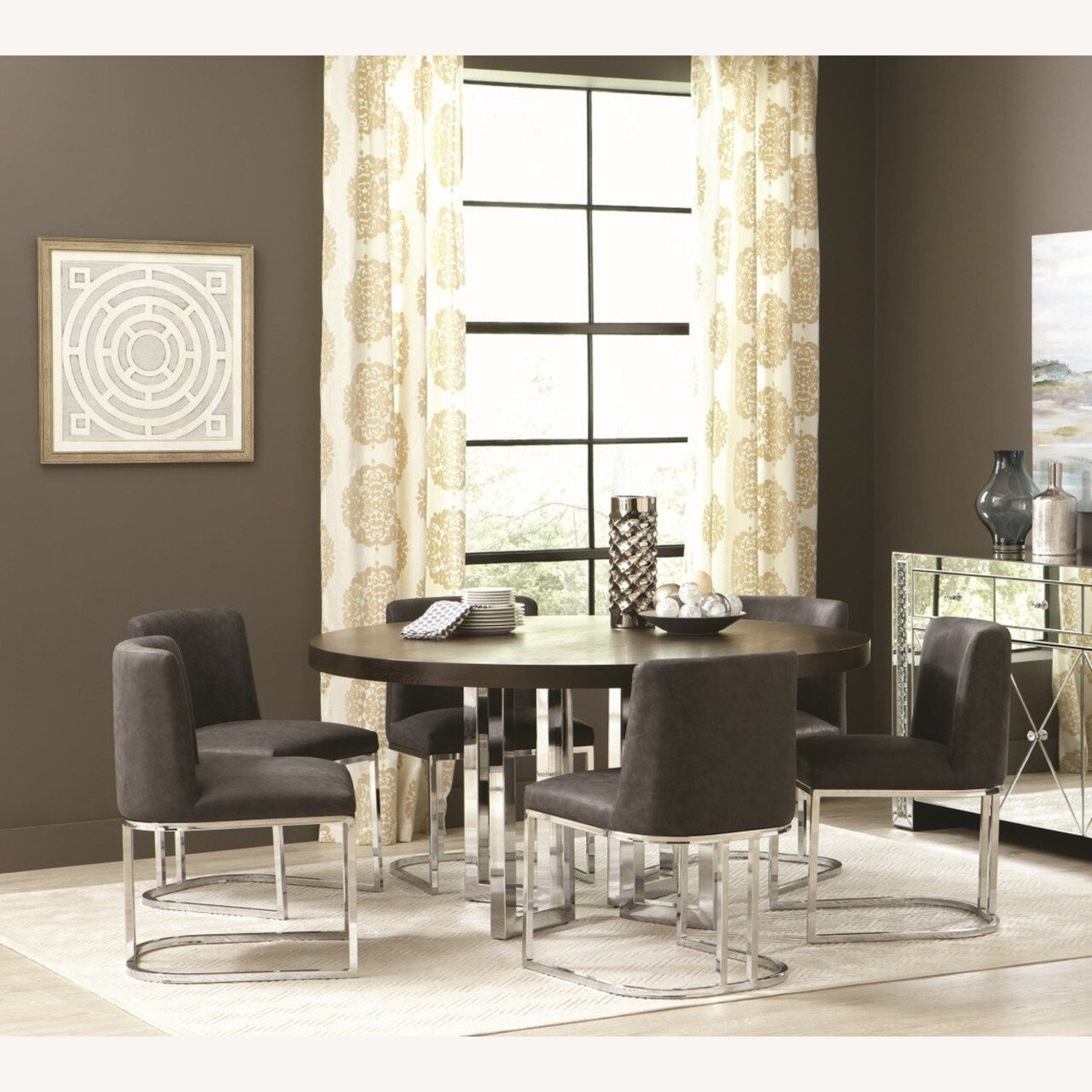 Modern Dining Chair In Black Leatherette - image-3