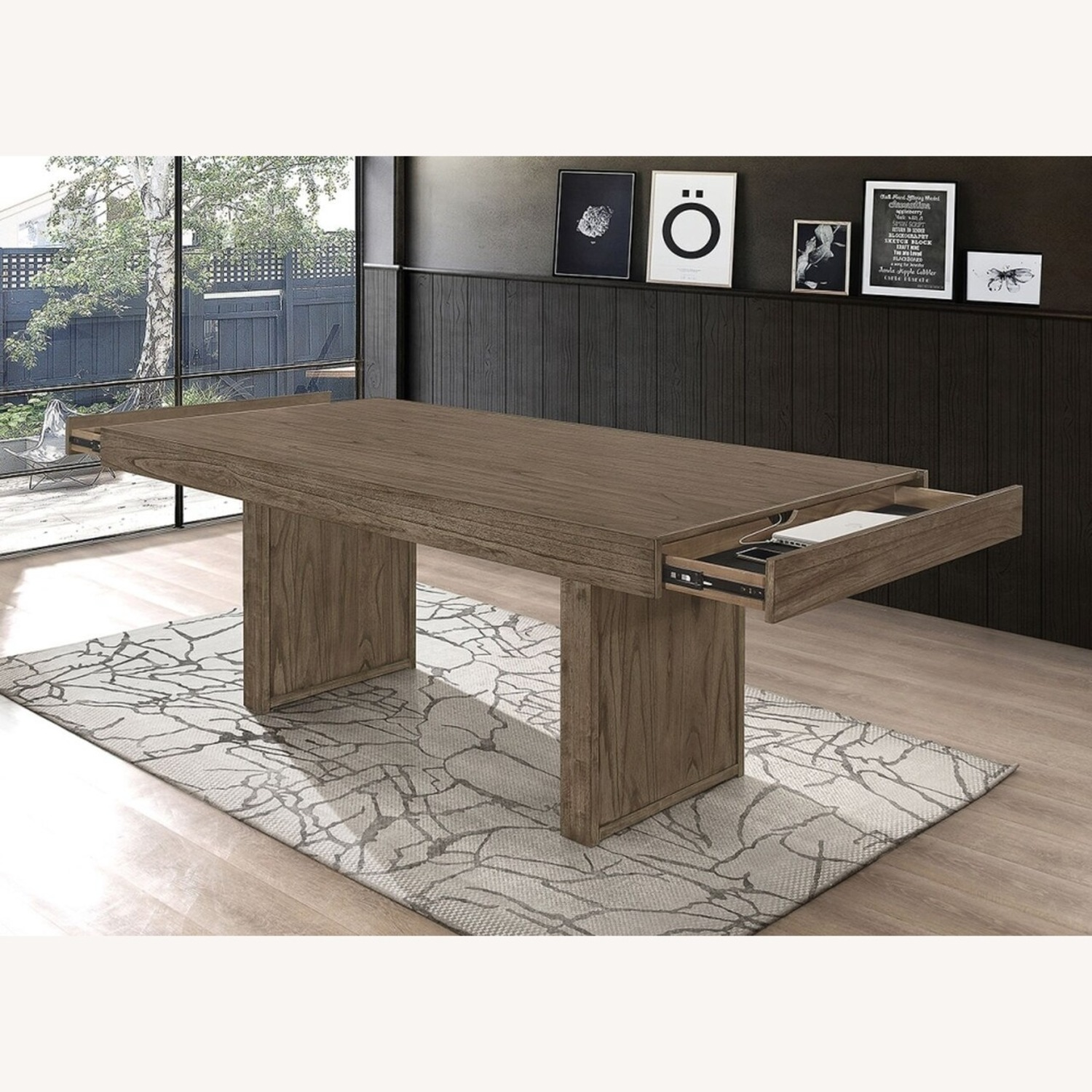 Dining Table Made From Wheat Brown Hardwood - image-1