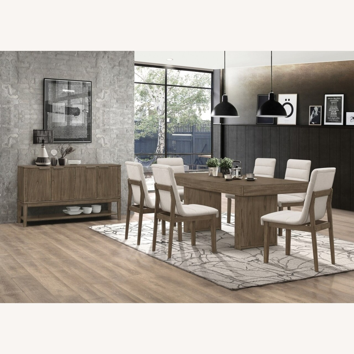 Contemporary Server In Wheat Brown Solid Hardwood - image-3