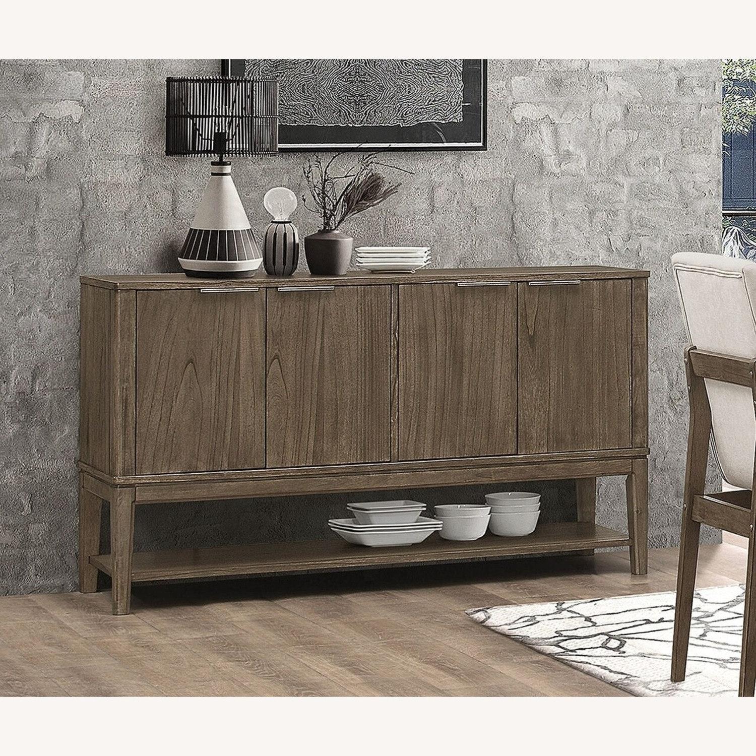 Contemporary Server In Wheat Brown Solid Hardwood - image-2