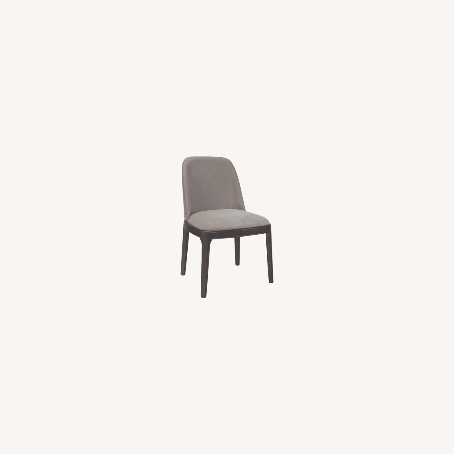 Contemporary Side Chair Upholstered In Grey Fabric - image-3