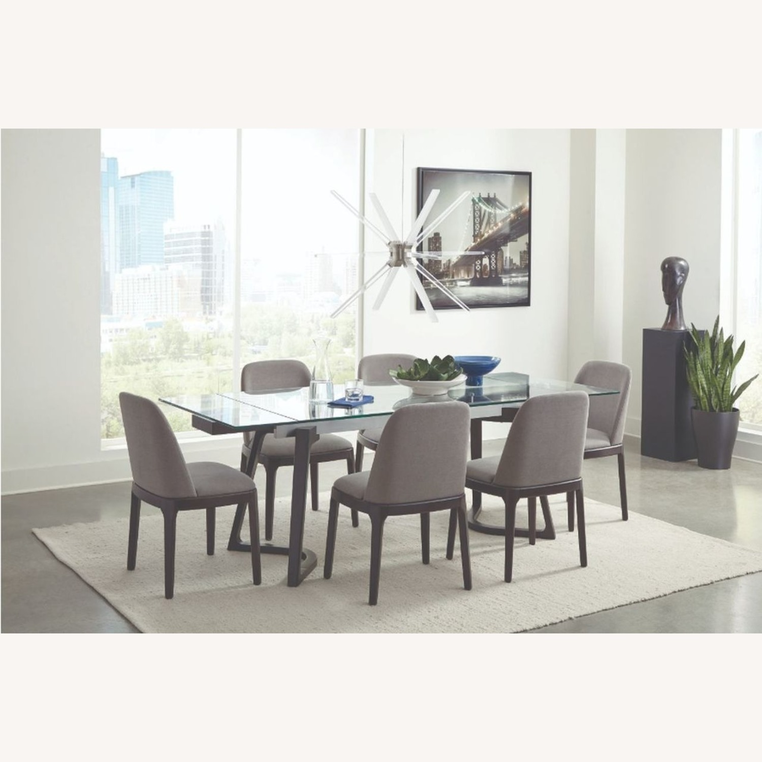Contemporary Side Chair Upholstered In Grey Fabric - image-2