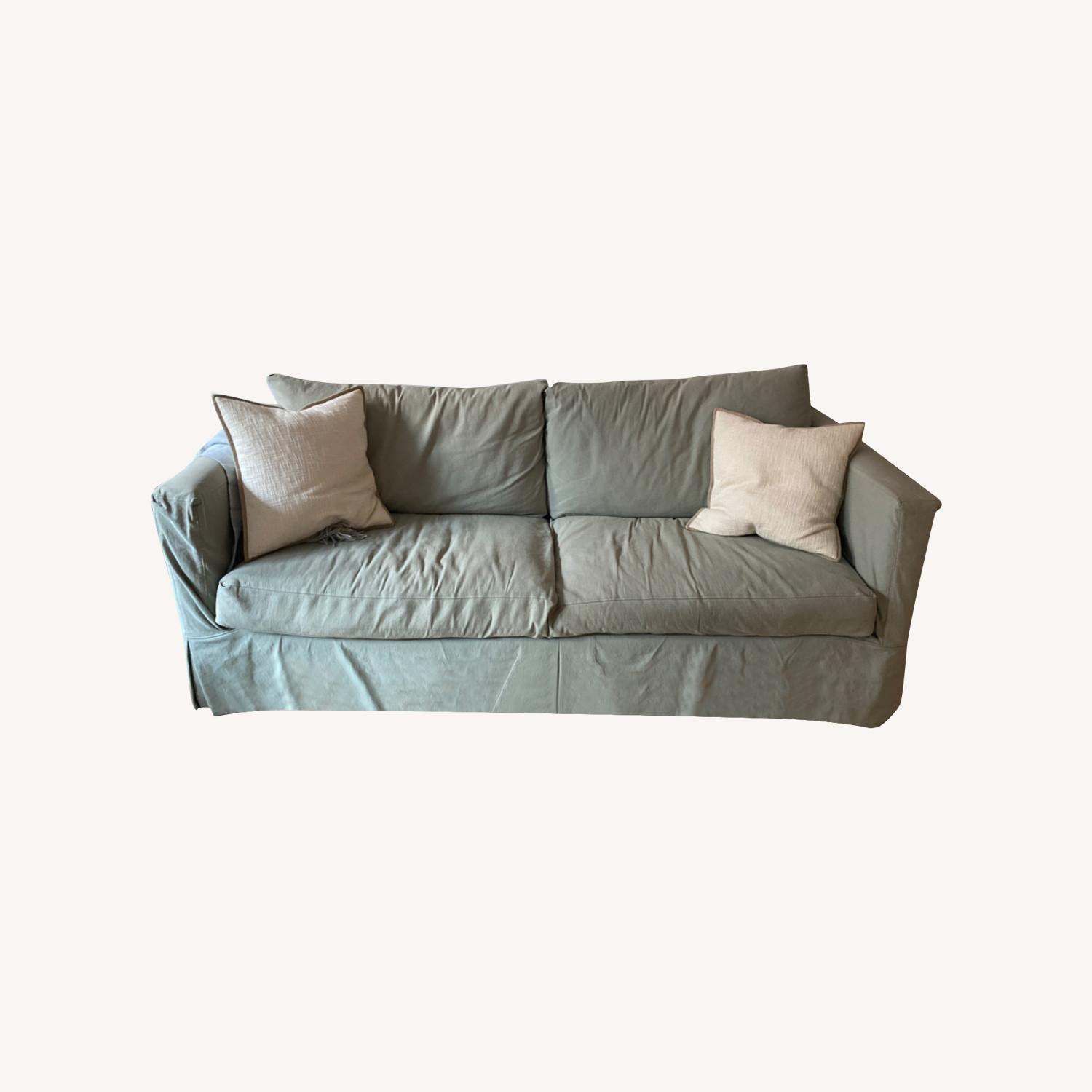 Crate and Barrel Sea Foam Green Couch - image-0