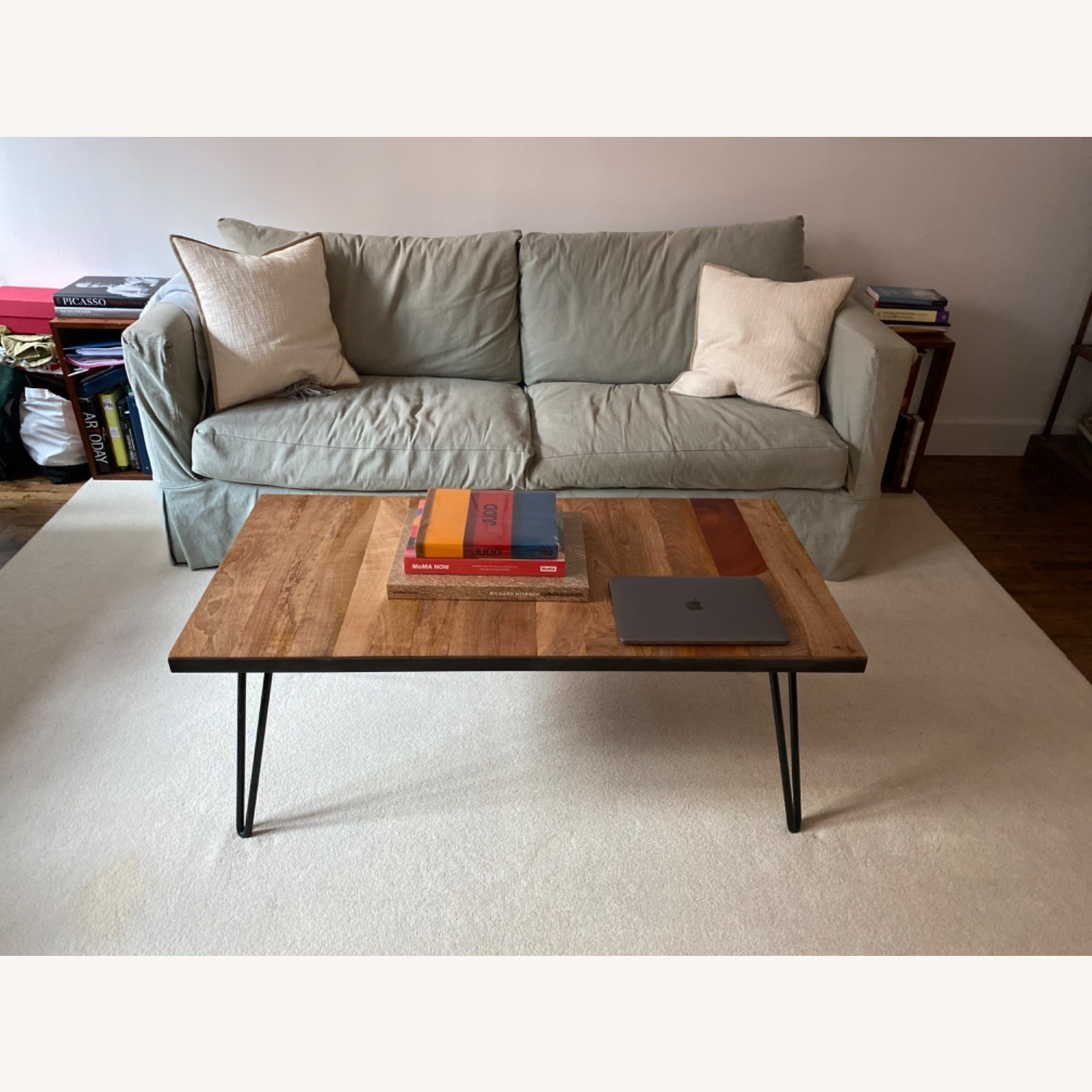Crate and Barrel Sea Foam Green Couch - image-2