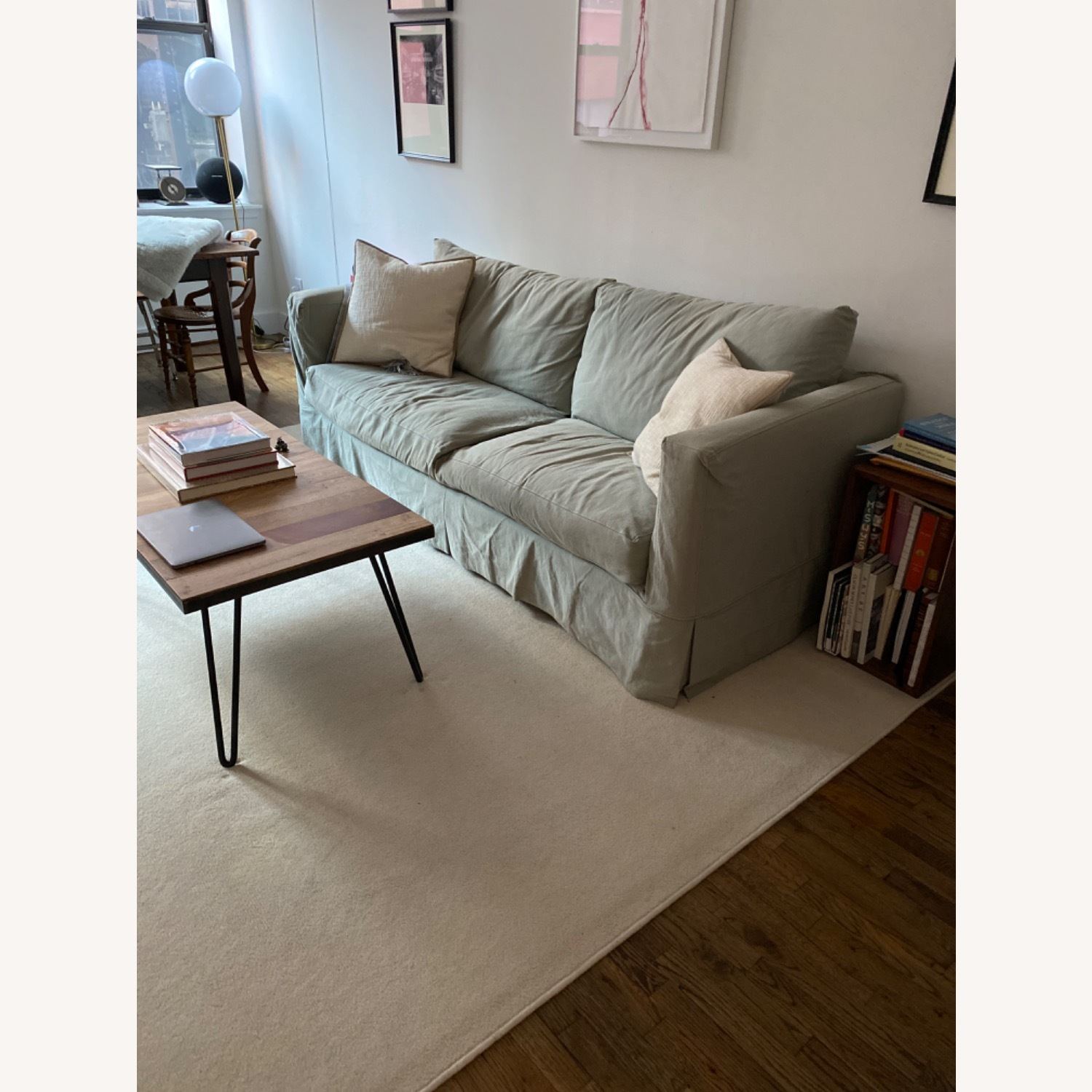 Crate and Barrel Sea Foam Green Couch - image-3