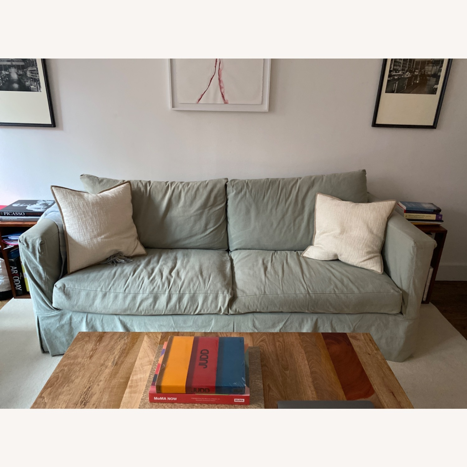 Crate and Barrel Sea Foam Green Couch - image-1