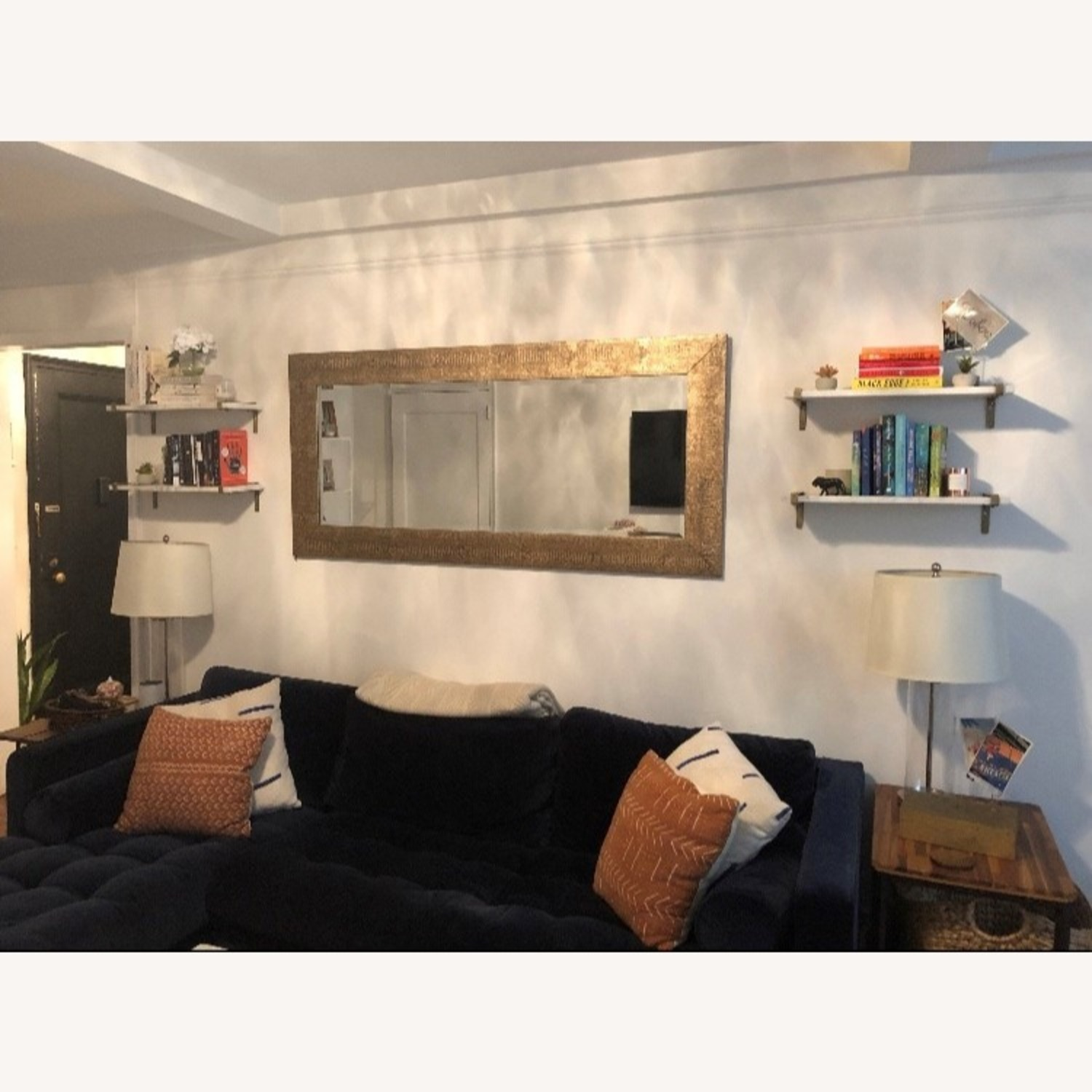 White Marble & Antique Brass Wall Shelves - image-2