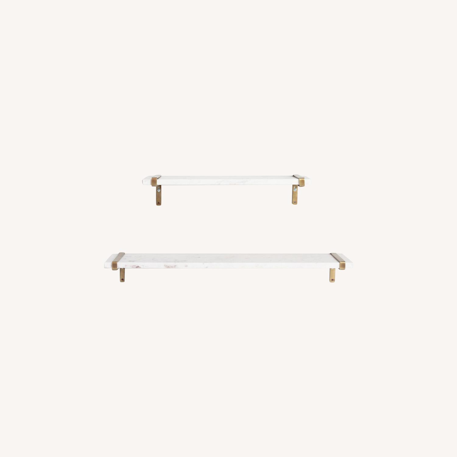 White Marble & Antique Brass Wall Shelves - image-0