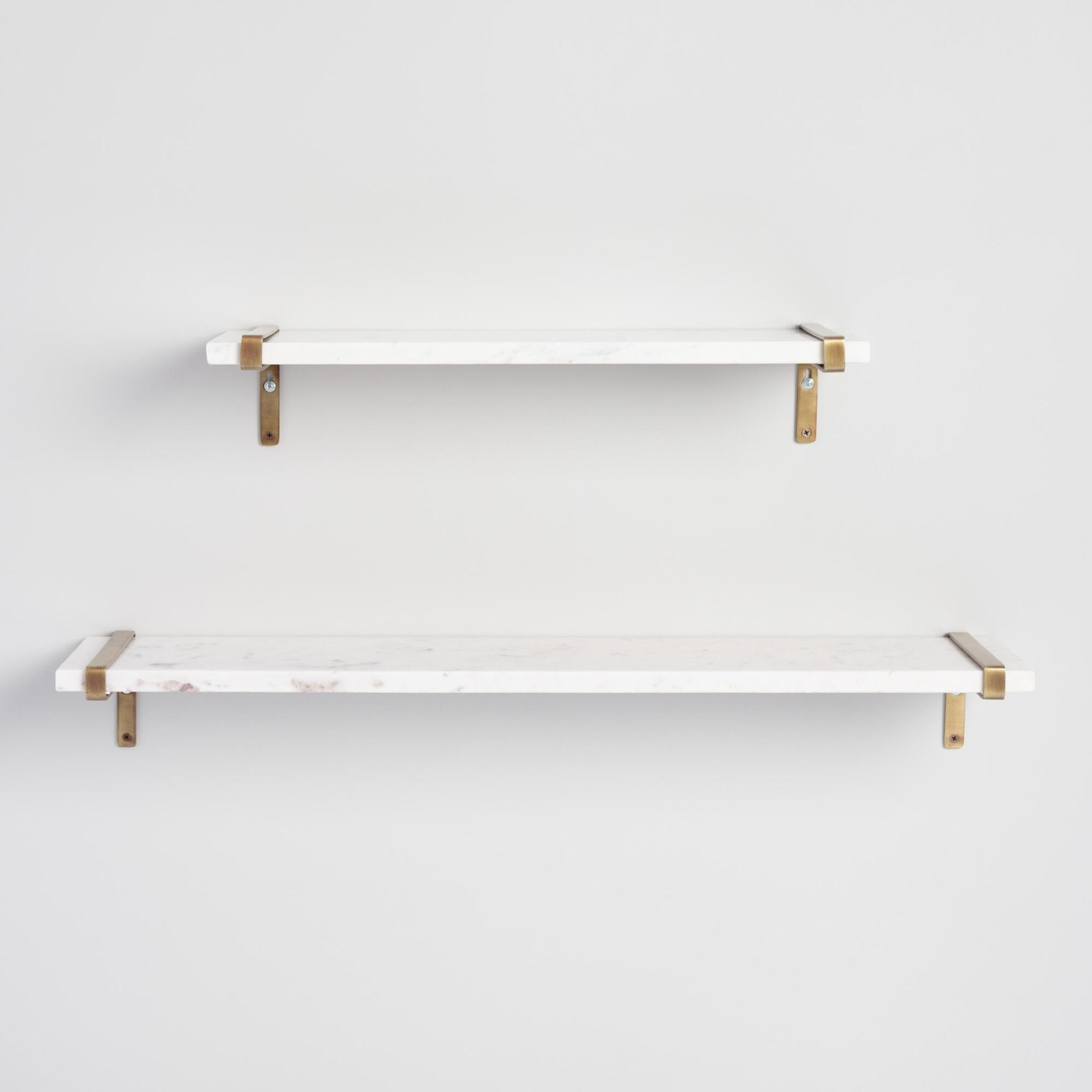 White Marble & Antique Brass Wall Shelves - image-1