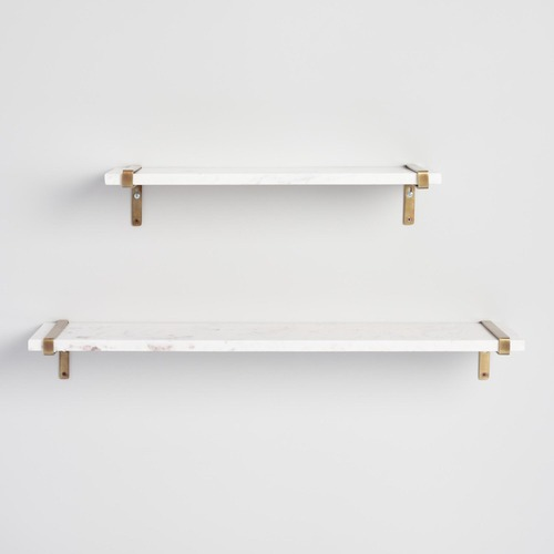 Used White Marble & Antique Brass Wall Shelves for sale on AptDeco