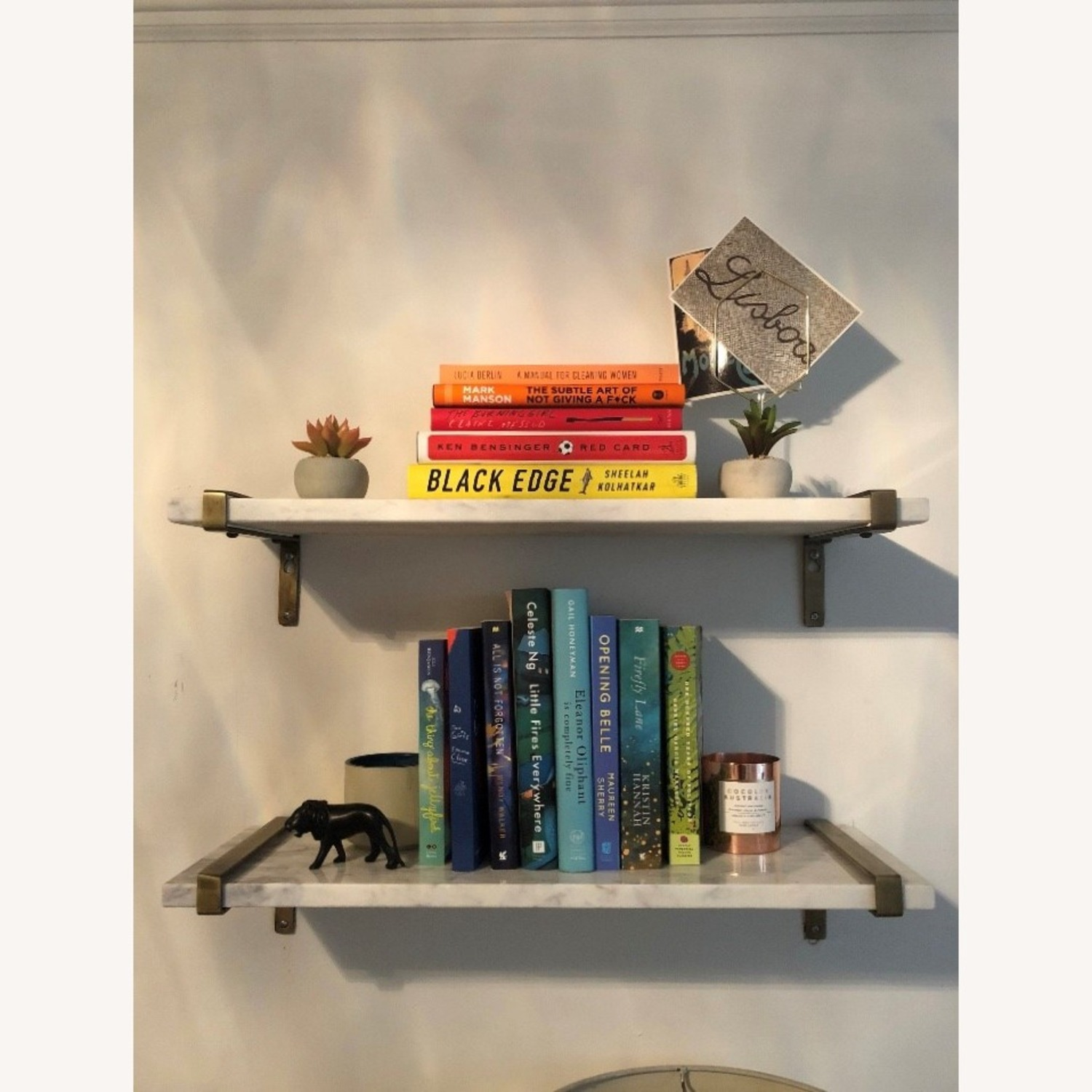 White Marble & Antique Brass Wall Shelves - image-5