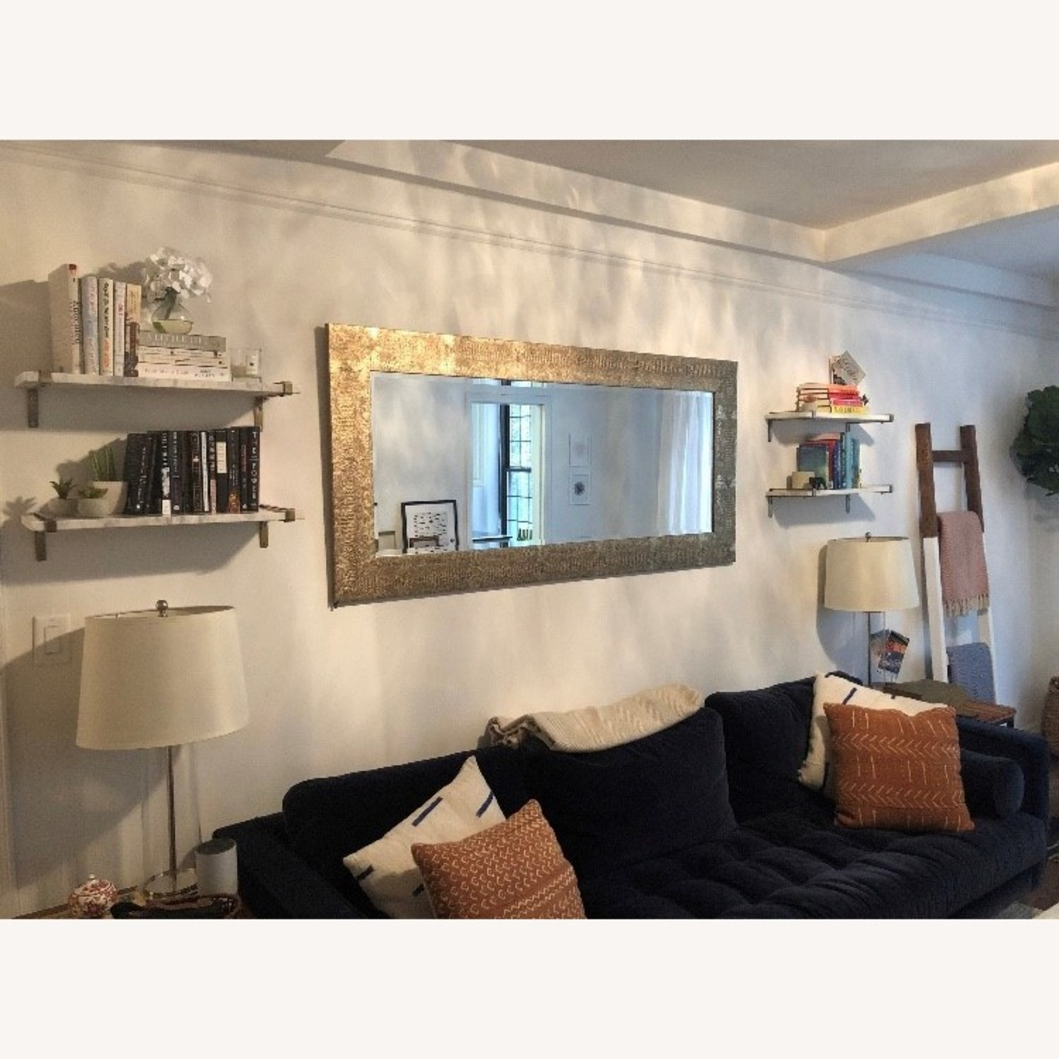 White Marble & Antique Brass Wall Shelves - image-3