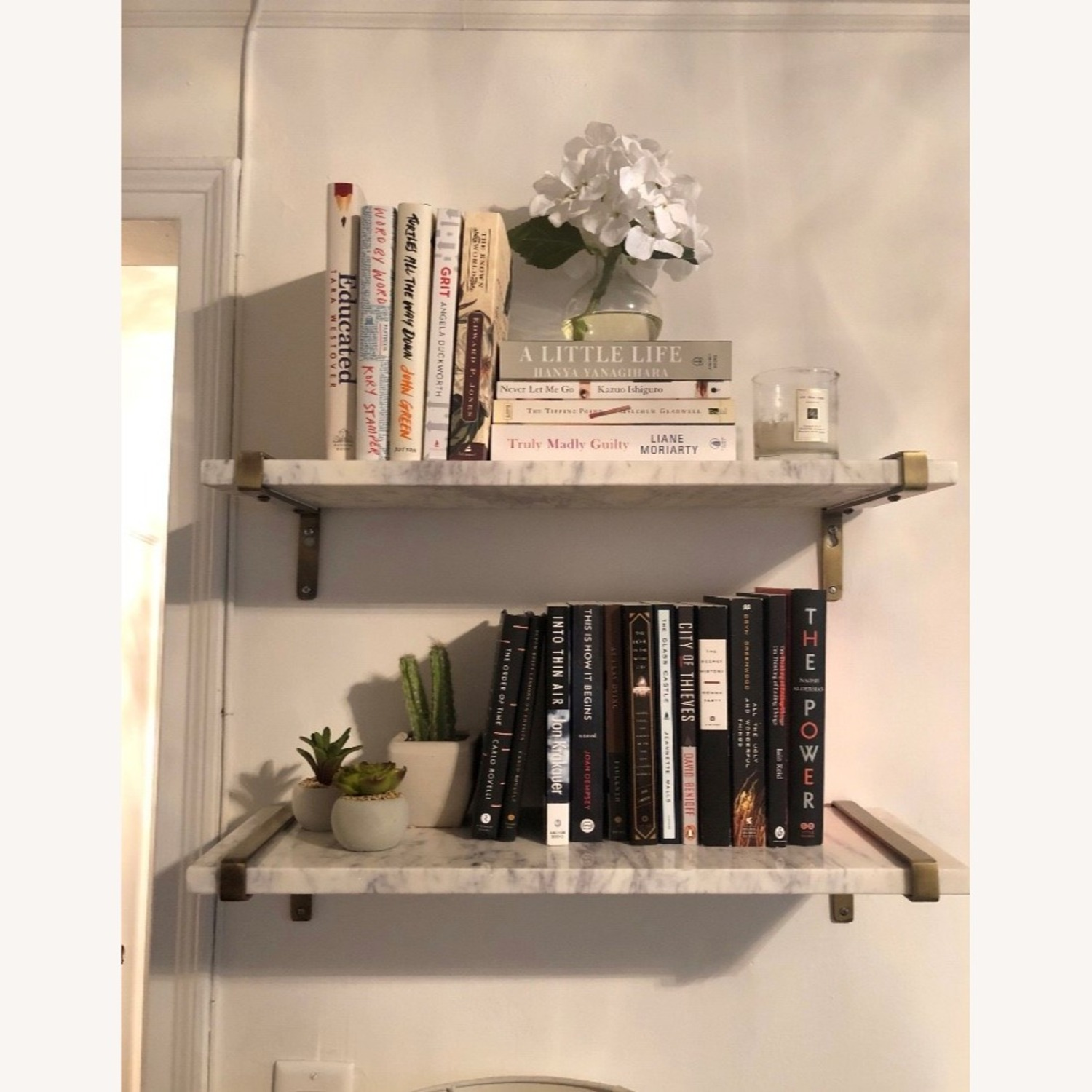 White Marble & Antique Brass Wall Shelves - image-4