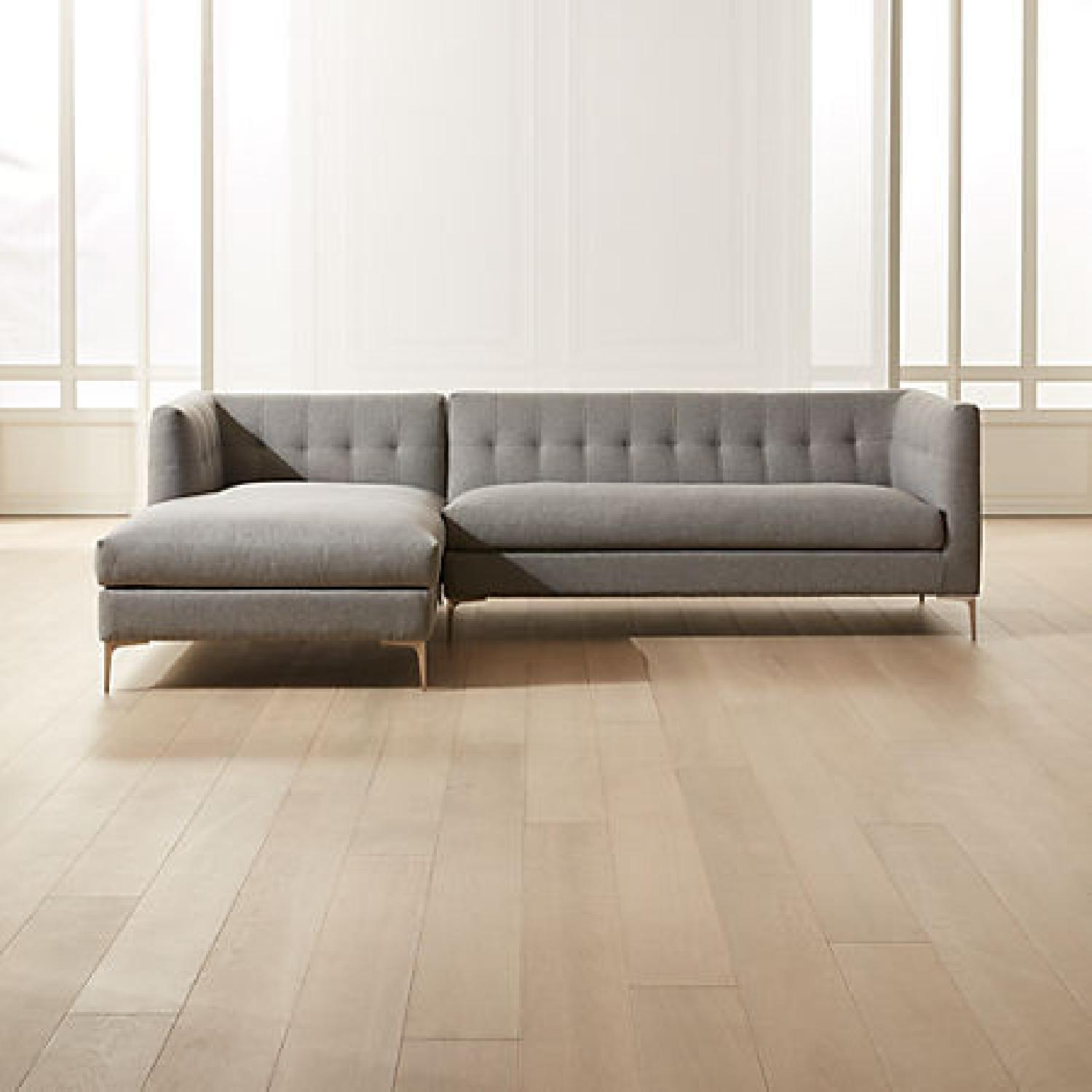 CB2 Tufted Grey Chaise Lounge Sofa - image-5
