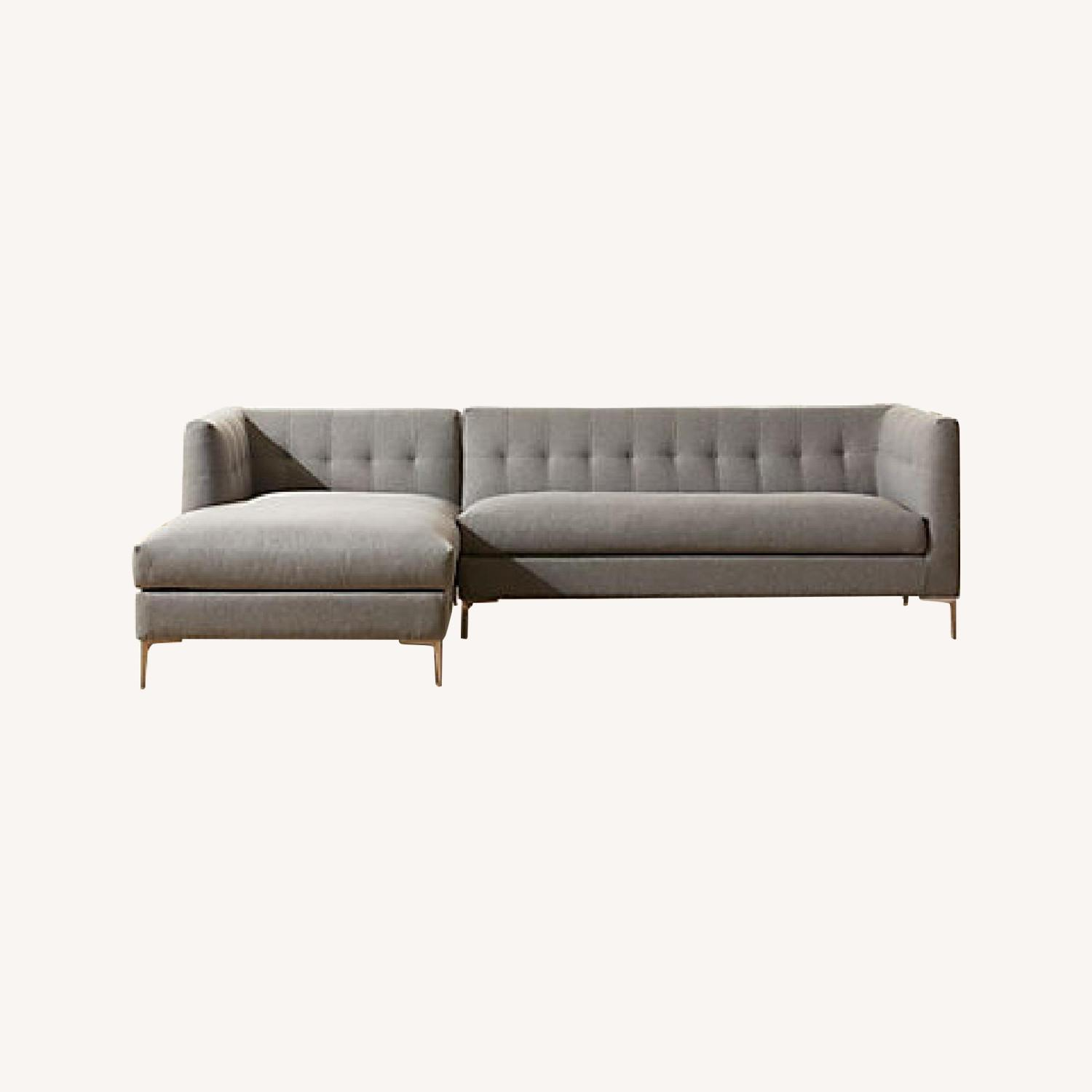 CB2 Tufted Grey Chaise Lounge Sofa - image-0