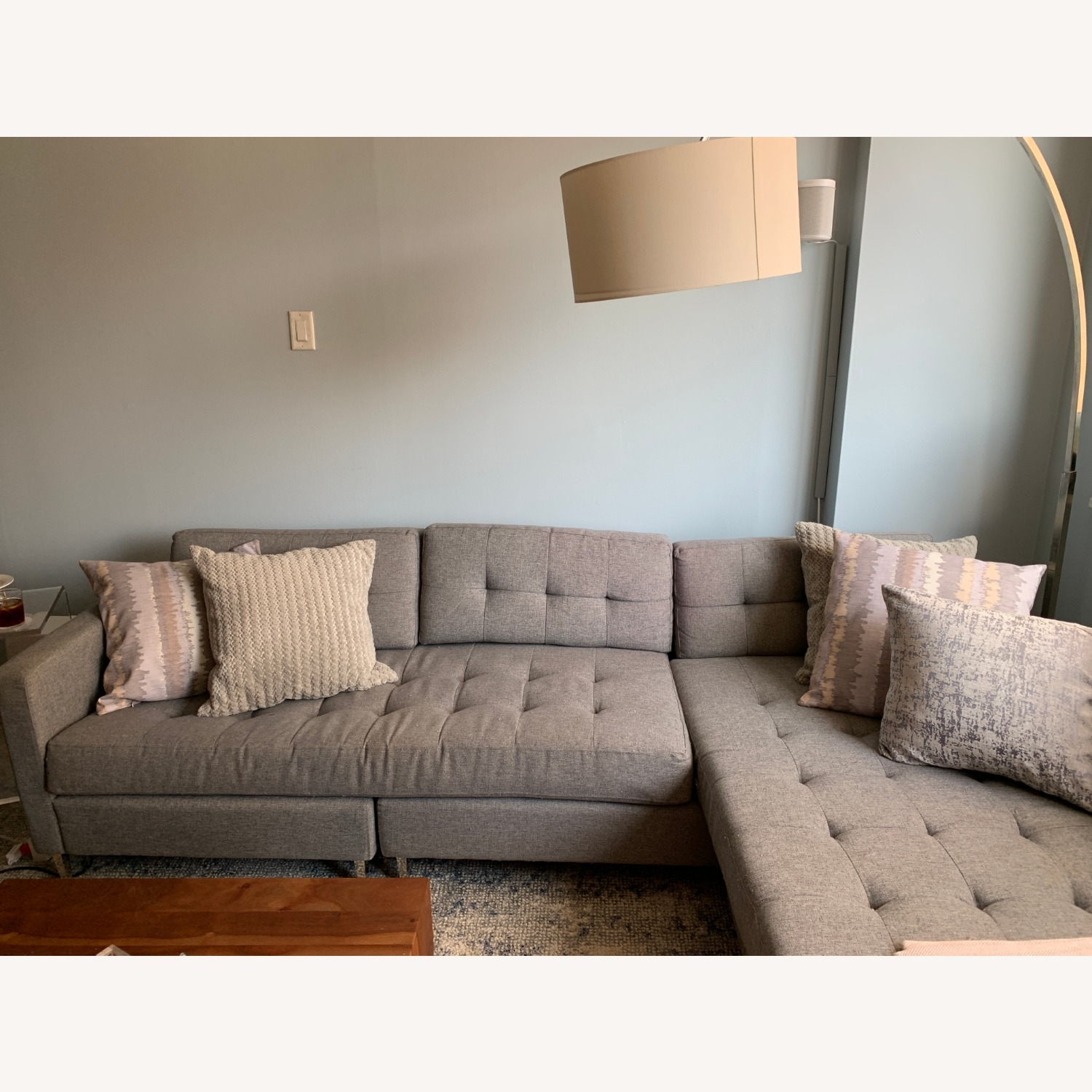CB2 Tufted Grey Chaise Lounge Sofa - image-1