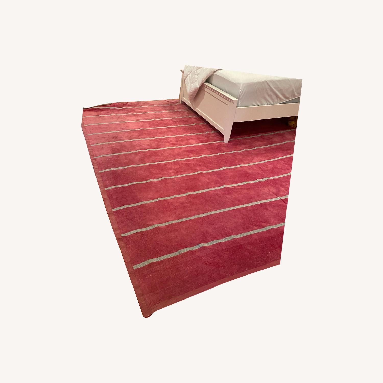 Madeline Weinrib Pink and Metallic Stripe Rug - image-0