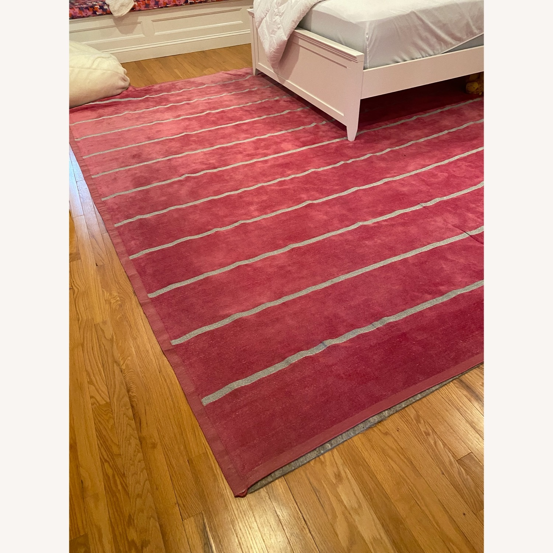 Madeline Weinrib Pink and Metallic Stripe Rug - image-1