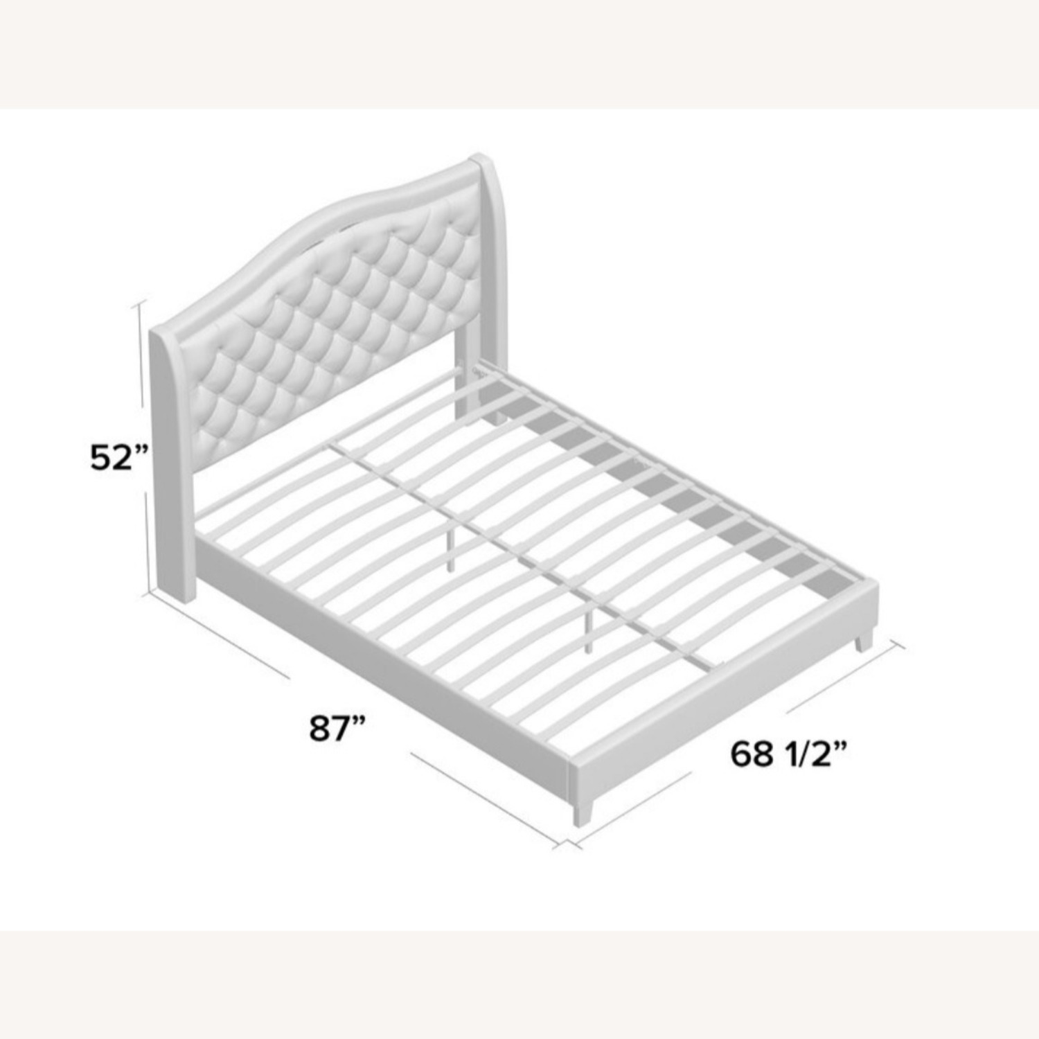 Wayfair Upholstered Bed Frame Ivory Queen Size - image-2