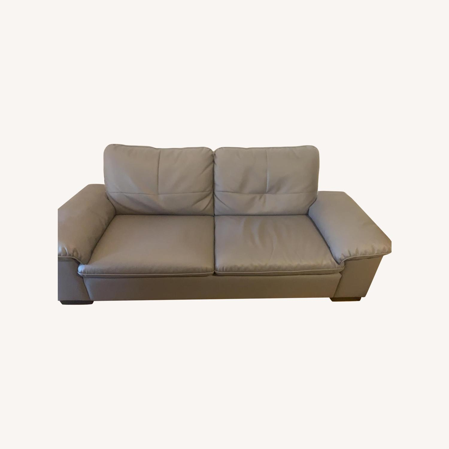 Faux Leather Grey Couch - image-0