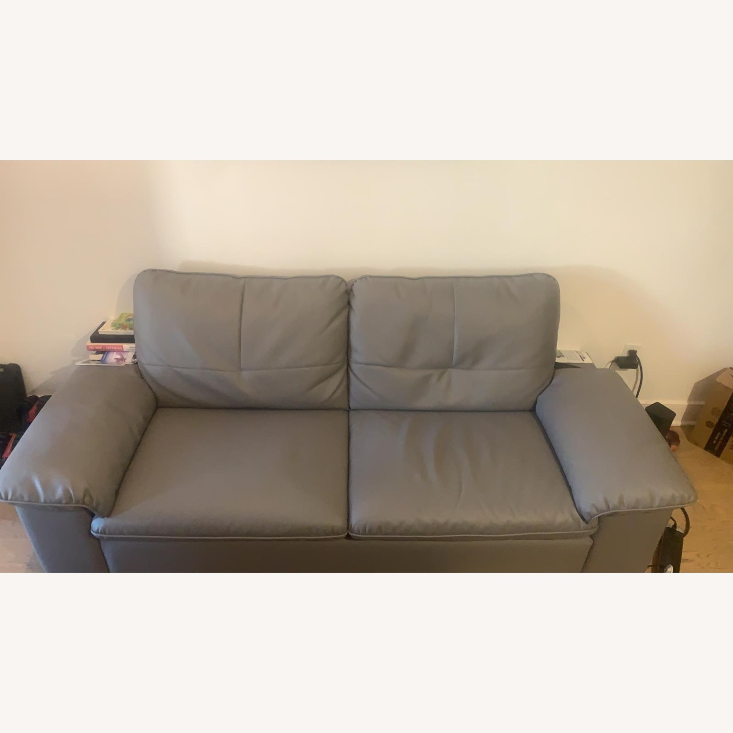 Faux Leather Grey Couch - image-3