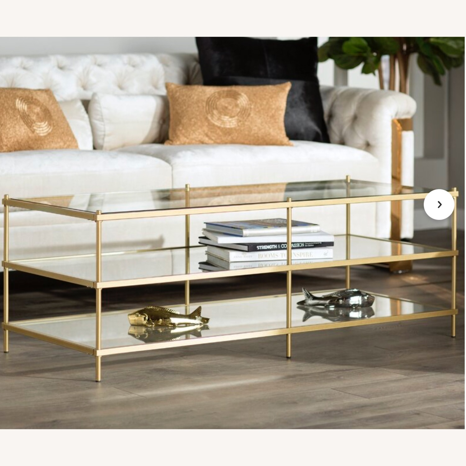 Wayfair Glass Table With Gold Detail - image-4