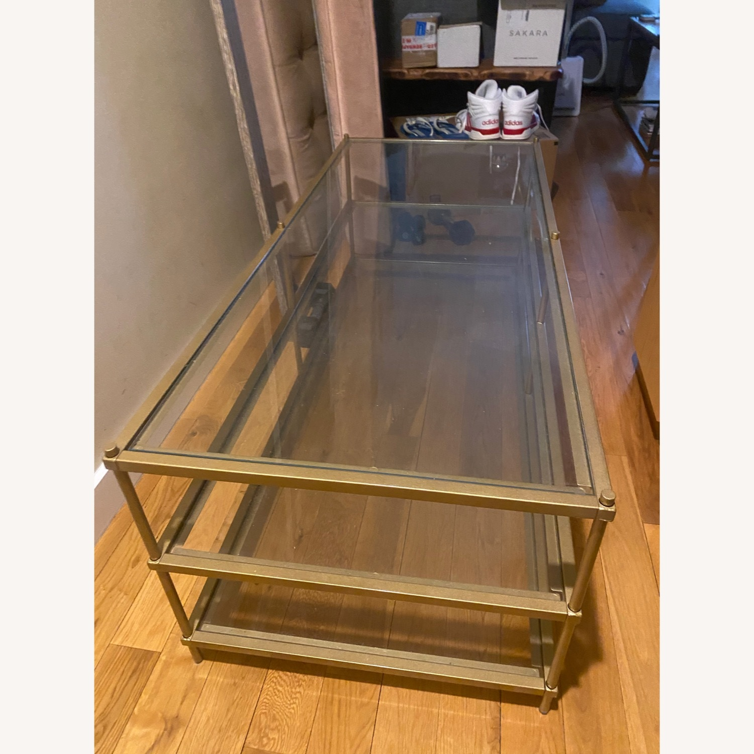 Wayfair Glass Table With Gold Detail - image-1