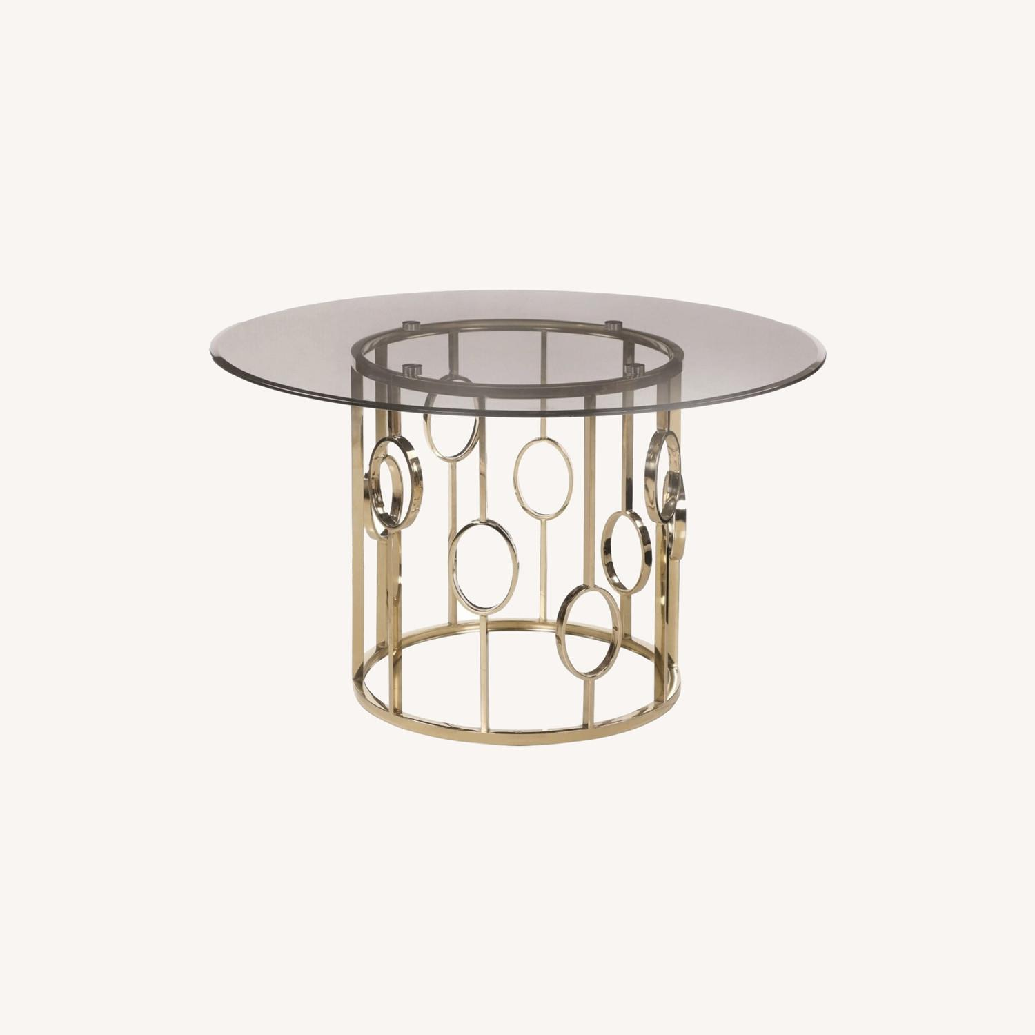 Elegant Round Dining Table In Smoke Glass Top - image-3