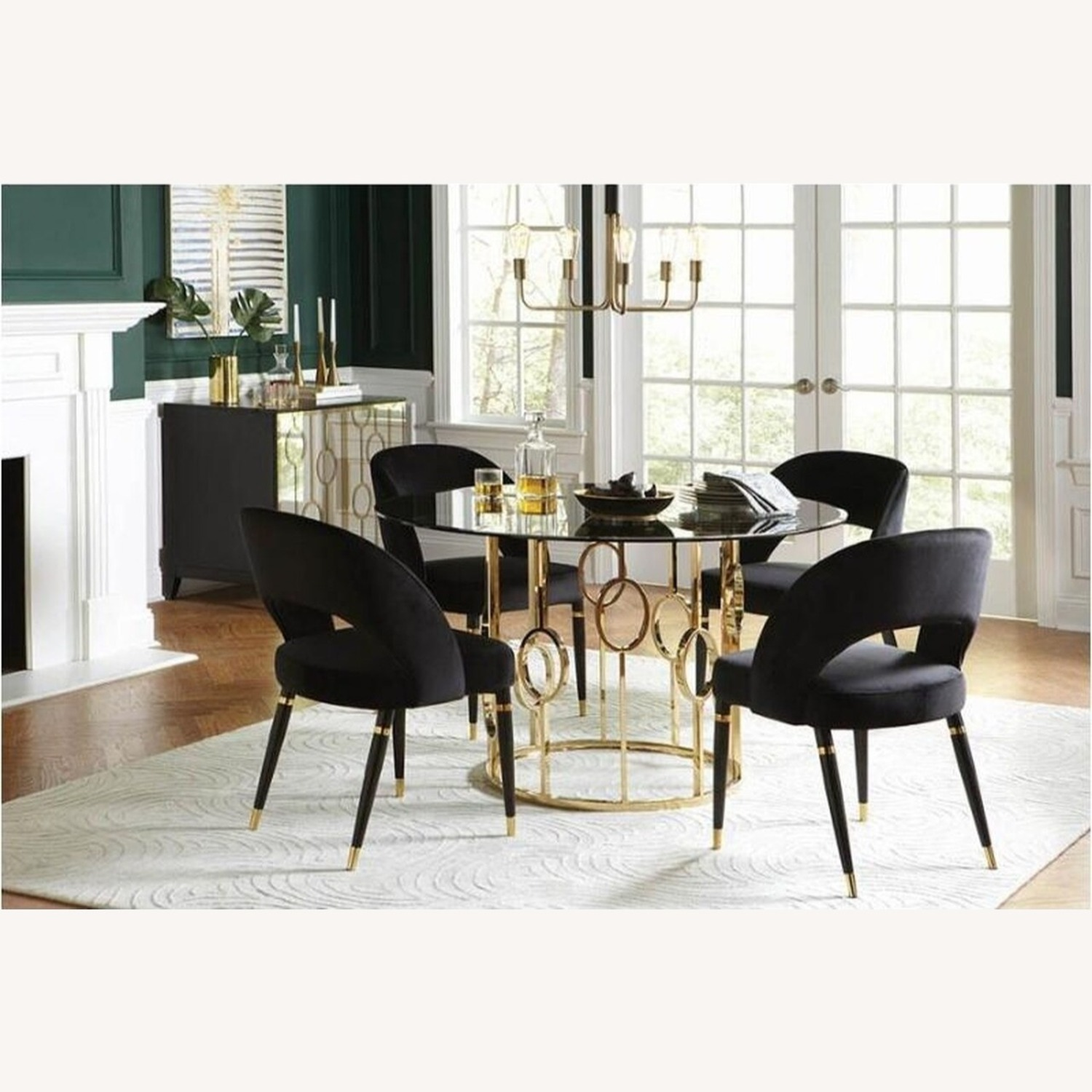 Elegant Round Dining Table In Smoke Glass Top - image-2