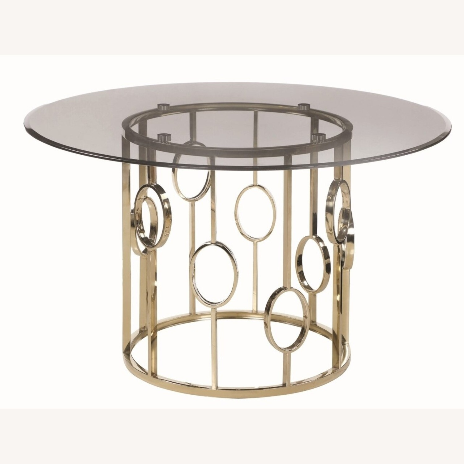 Elegant Round Dining Table In Smoke Glass Top - image-1