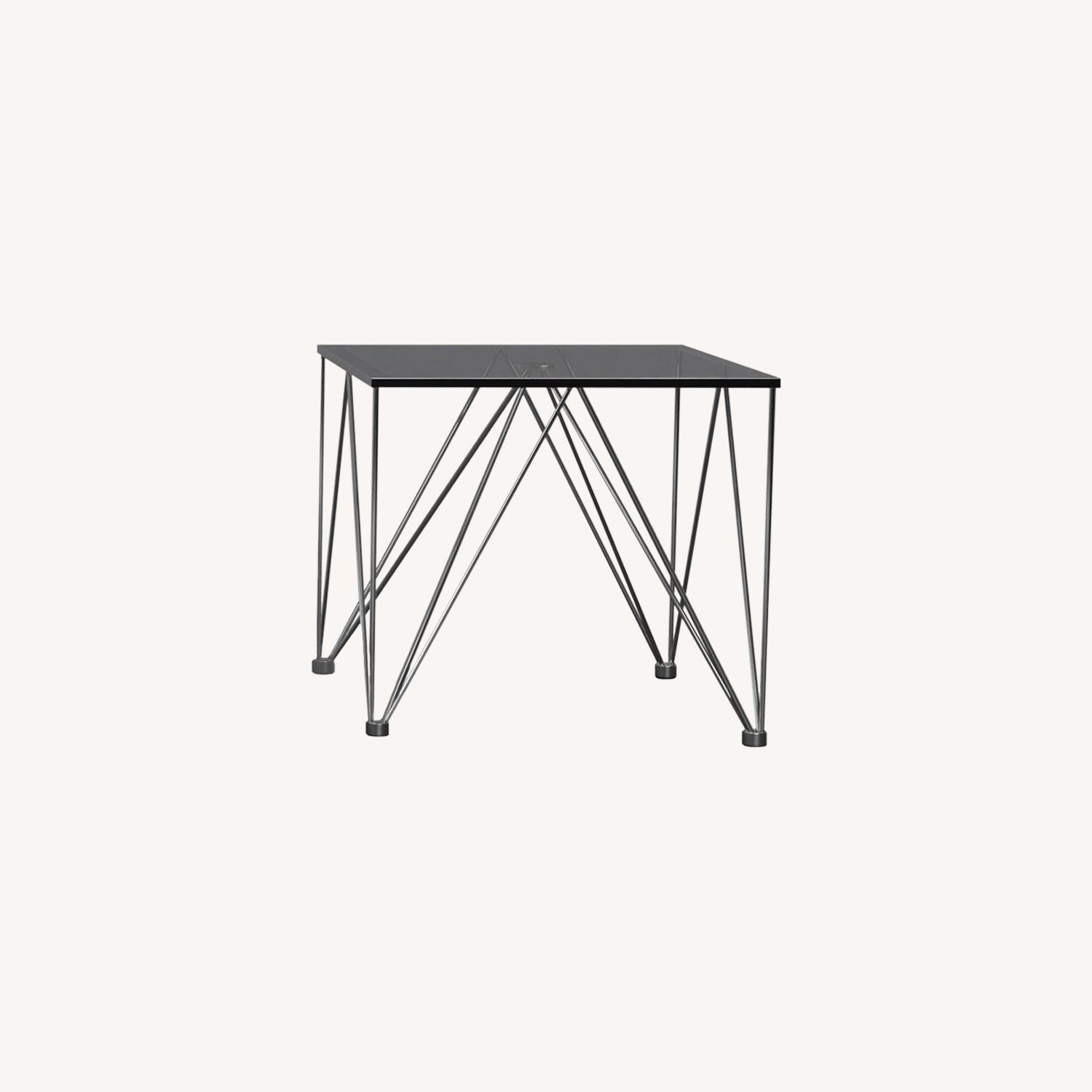 Modern End Table In Grey Tempered Glass Top - image-3