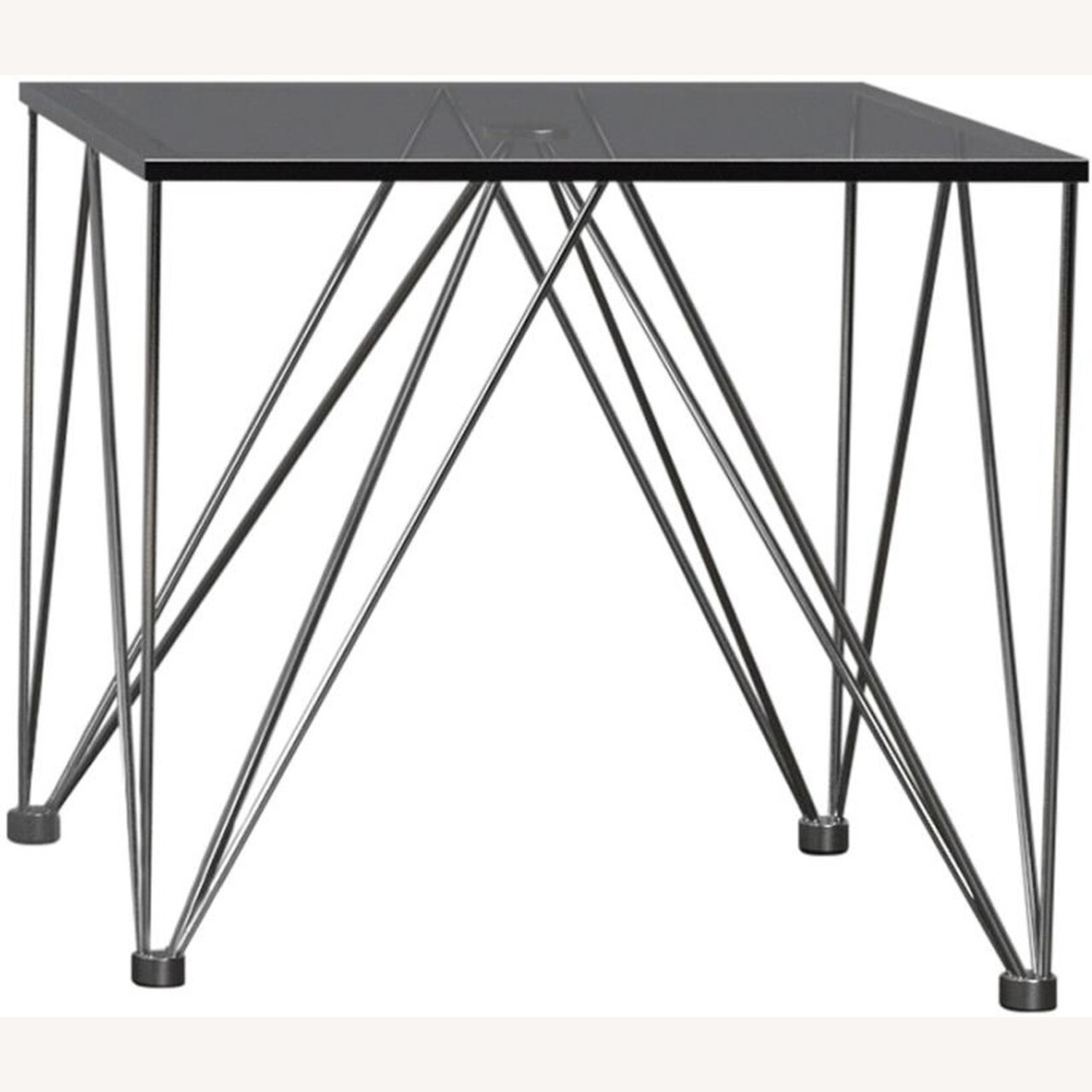 Modern End Table In Grey Tempered Glass Top - image-0