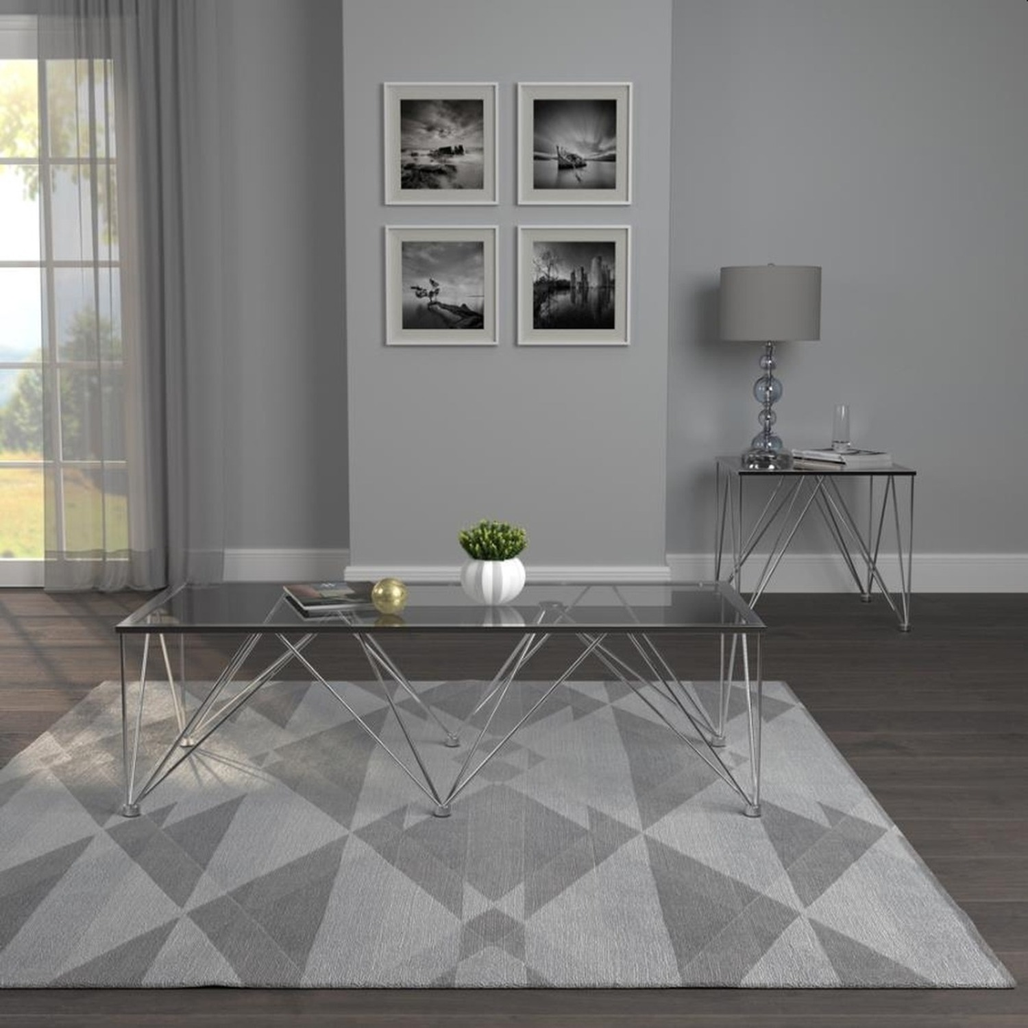 Modern End Table In Grey Tempered Glass Top - image-2