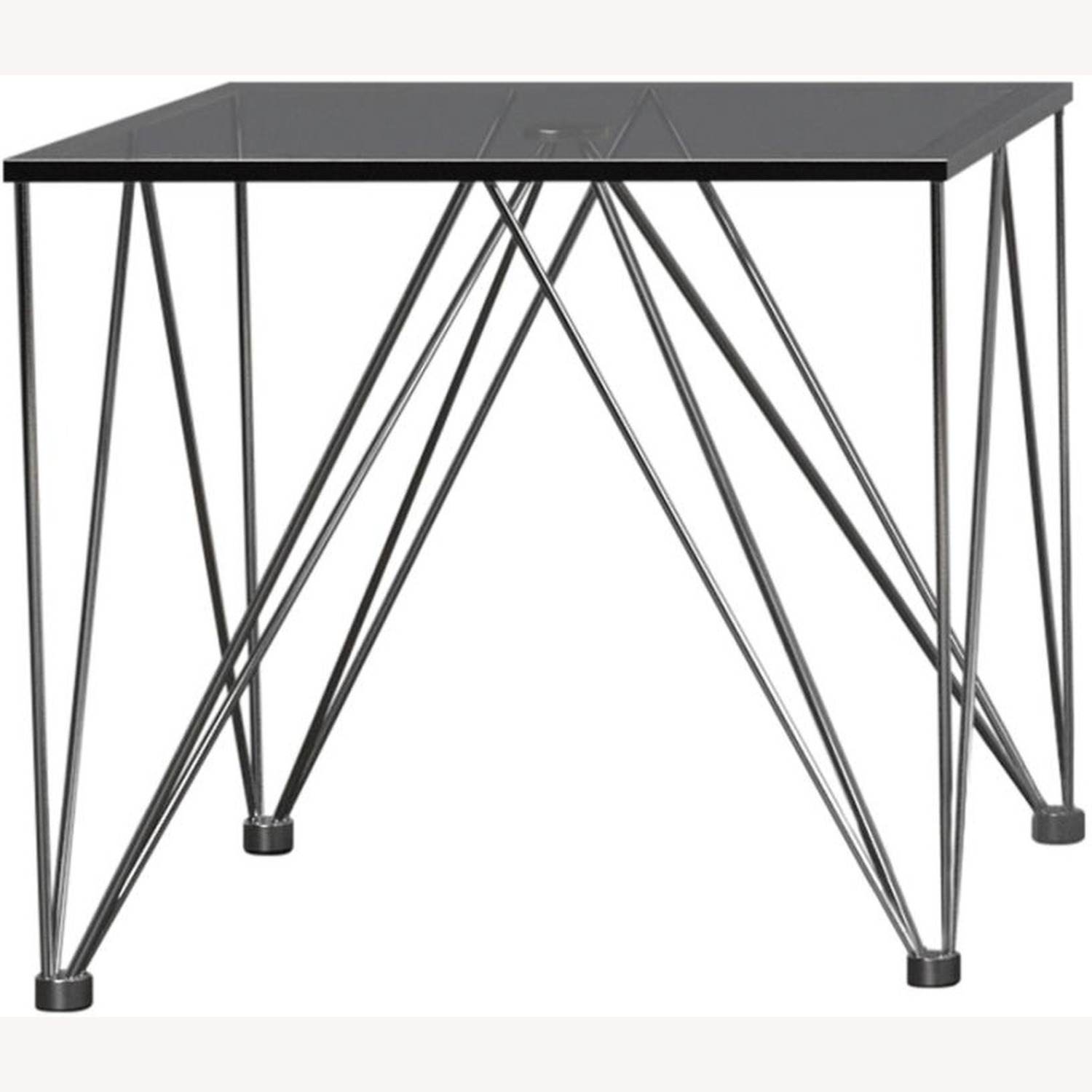 Modern End Table In Grey Tempered Glass Top - image-1