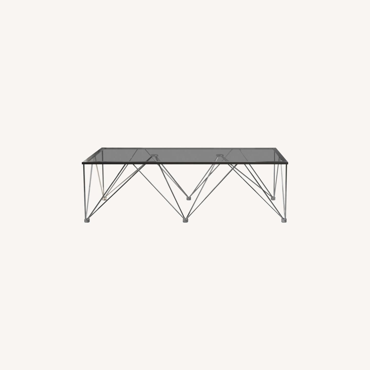 Modern Coffee Table In Chrome Metal Base - image-3