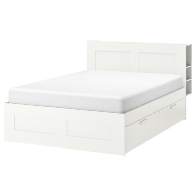 Queen Bed Frame w/ Storage & Headboard - image-1