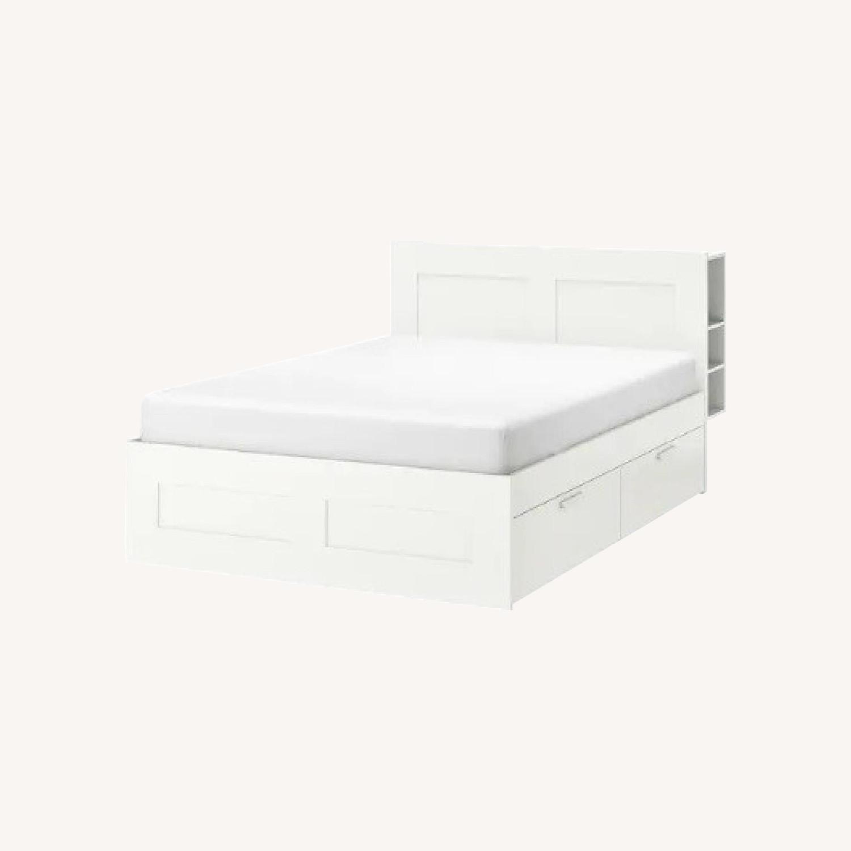Queen Bed Frame w/ Storage & Headboard - image-0