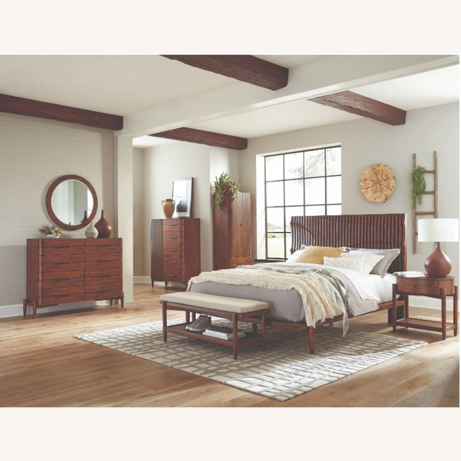Contemporary King Bed In Dessert Teak Finish - image-2