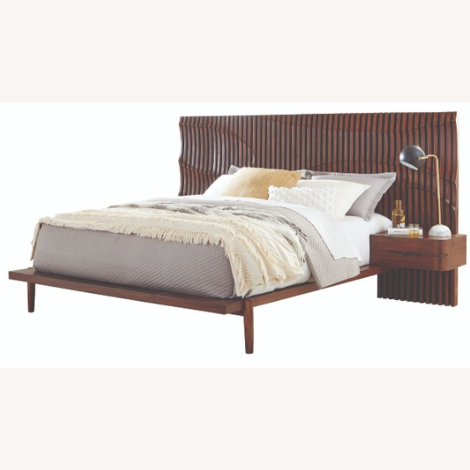 Contemporary King Bed In Dessert Teak Finish - image-1