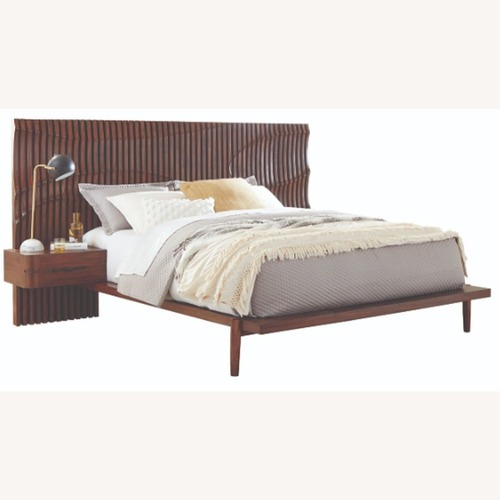 Used Contemporary King Bed In Dessert Teak Finish for sale on AptDeco