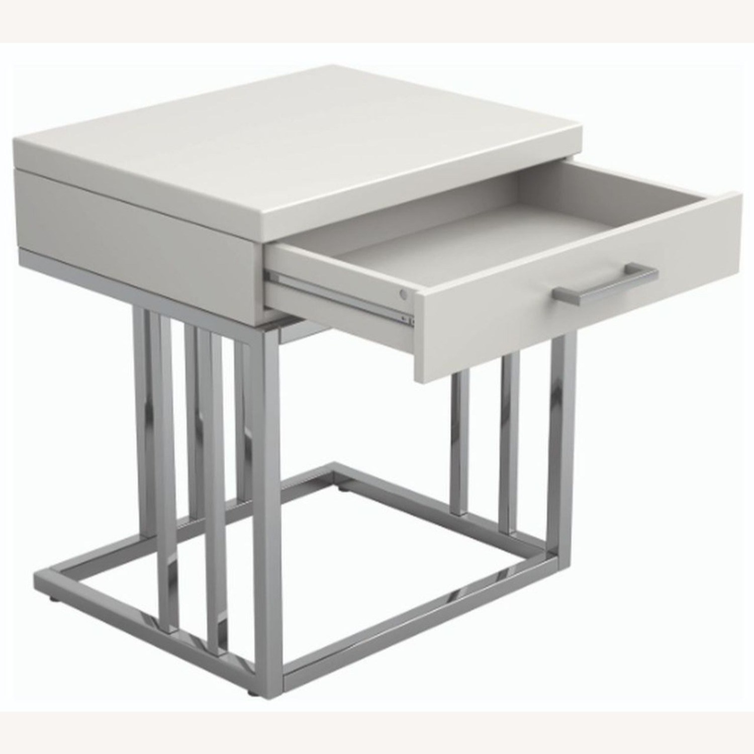Modern End Table W/ Glossy White Tabletop - image-2