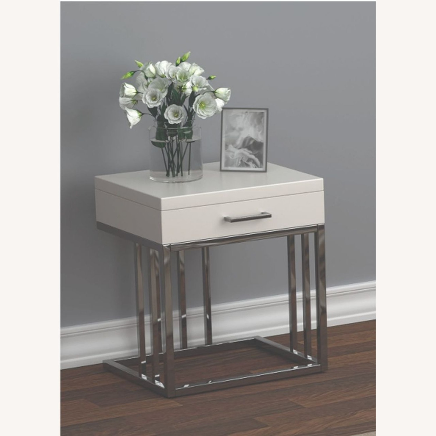 Modern End Table W/ Glossy White Tabletop - image-3